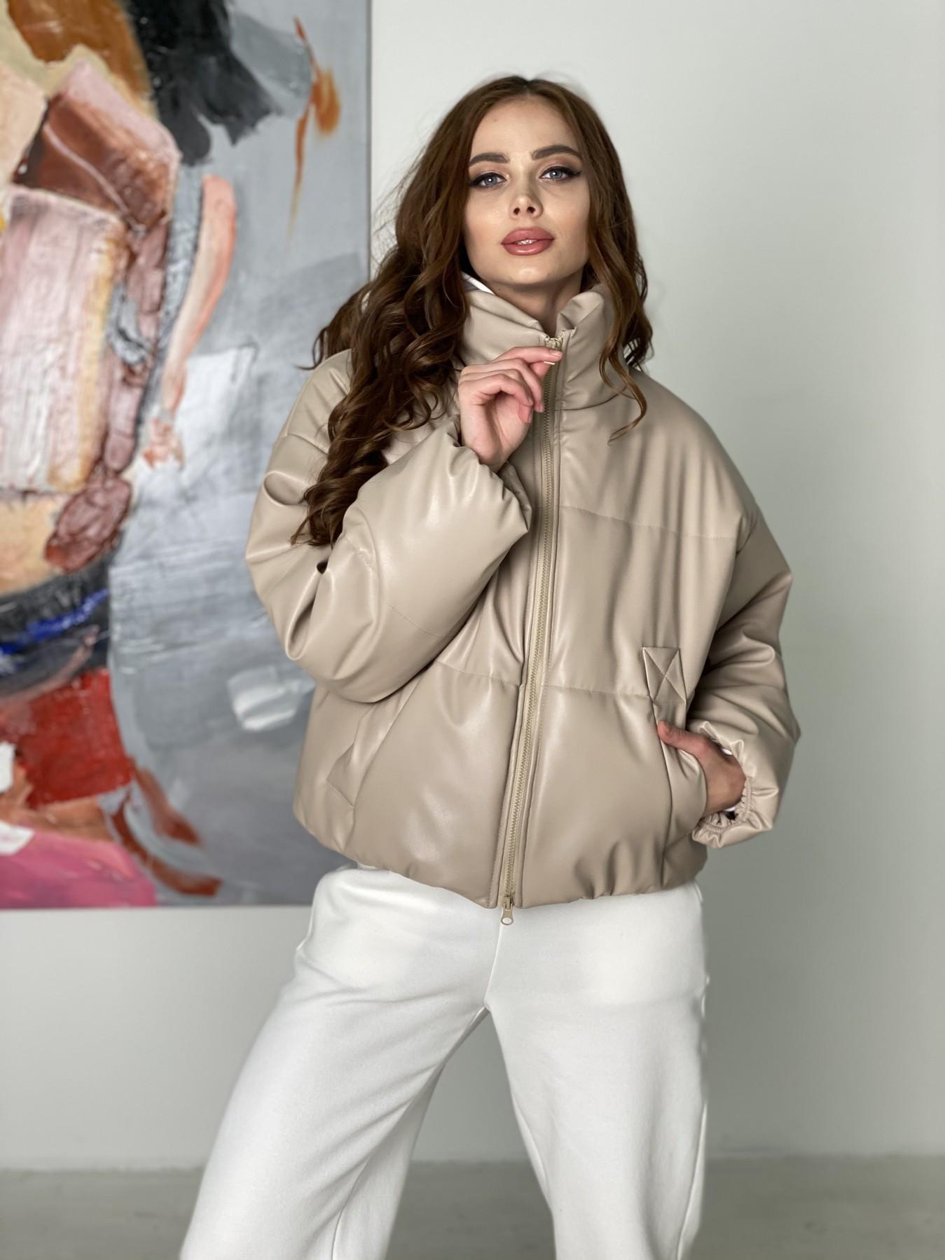 Драйв куртка из  экокожи  10499 АРТ. 46844 Цвет: Бежевый 2 - фото 2, интернет магазин tm-modus.ru