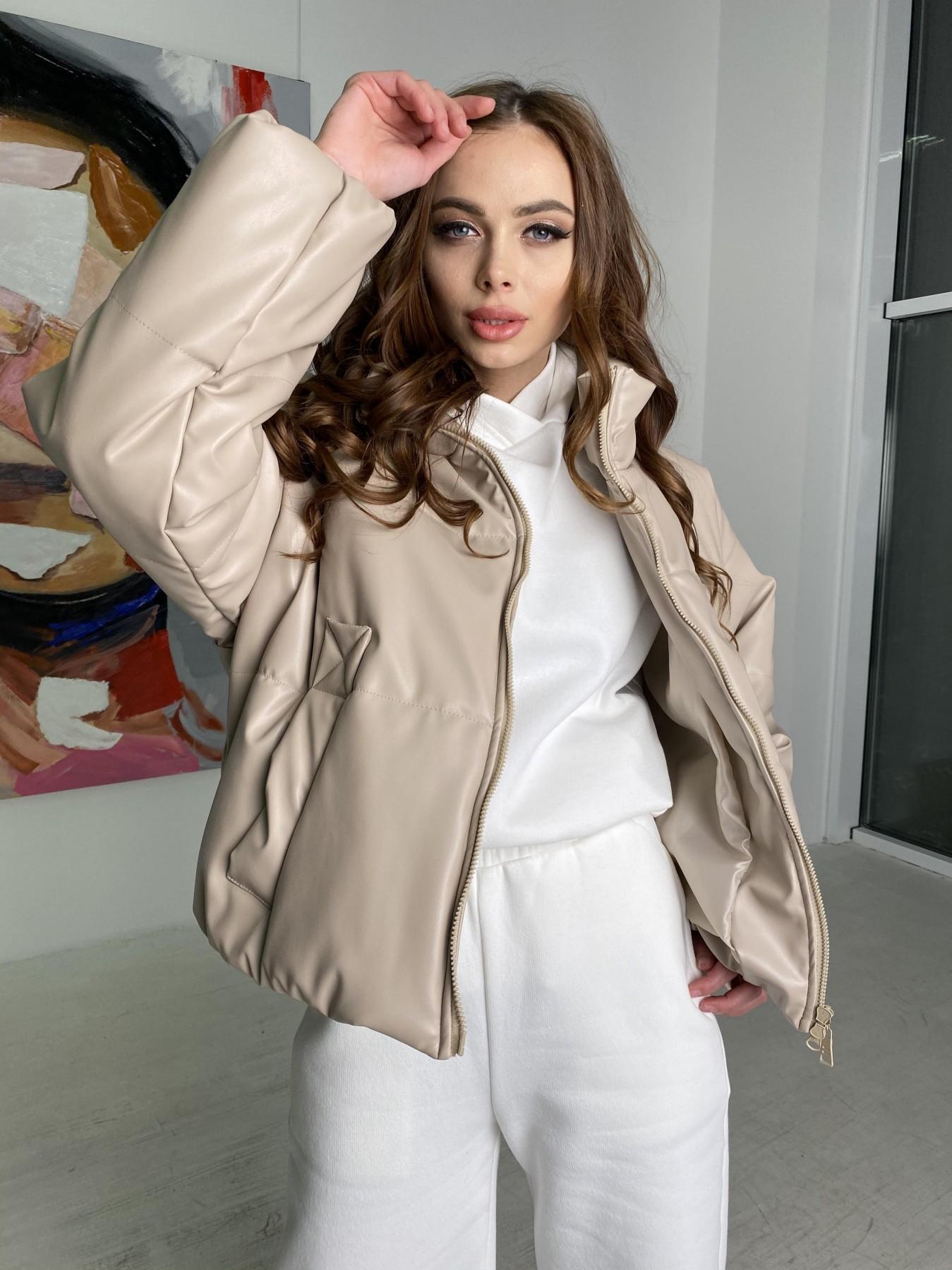 Драйв куртка из  экокожи  10499 АРТ. 46844 Цвет: Бежевый 2 - фото 3, интернет магазин tm-modus.ru