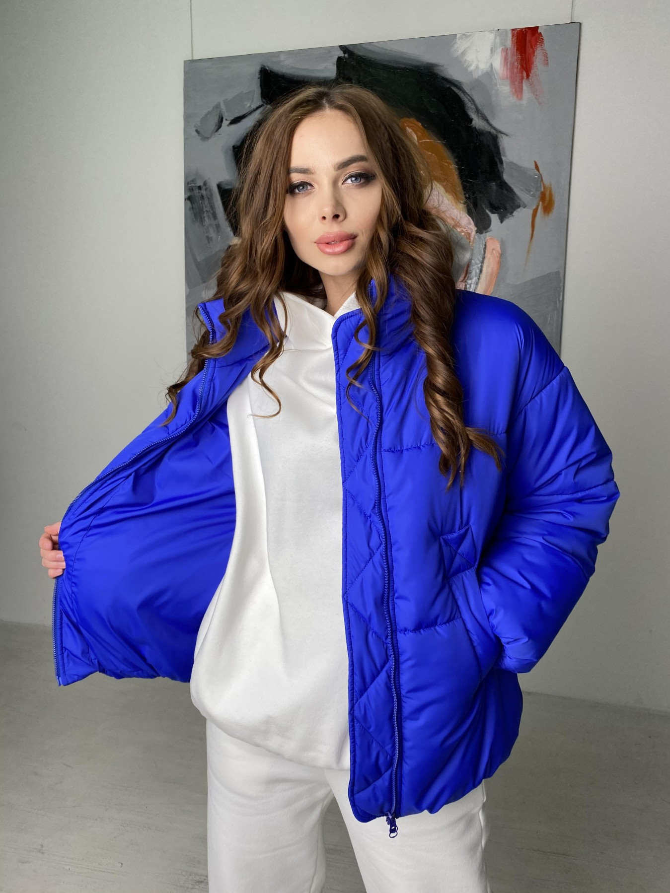 Муд куртка из плащевой ткани 10509 АРТ. 46852 Цвет: Электрик - фото 1, интернет магазин tm-modus.ru