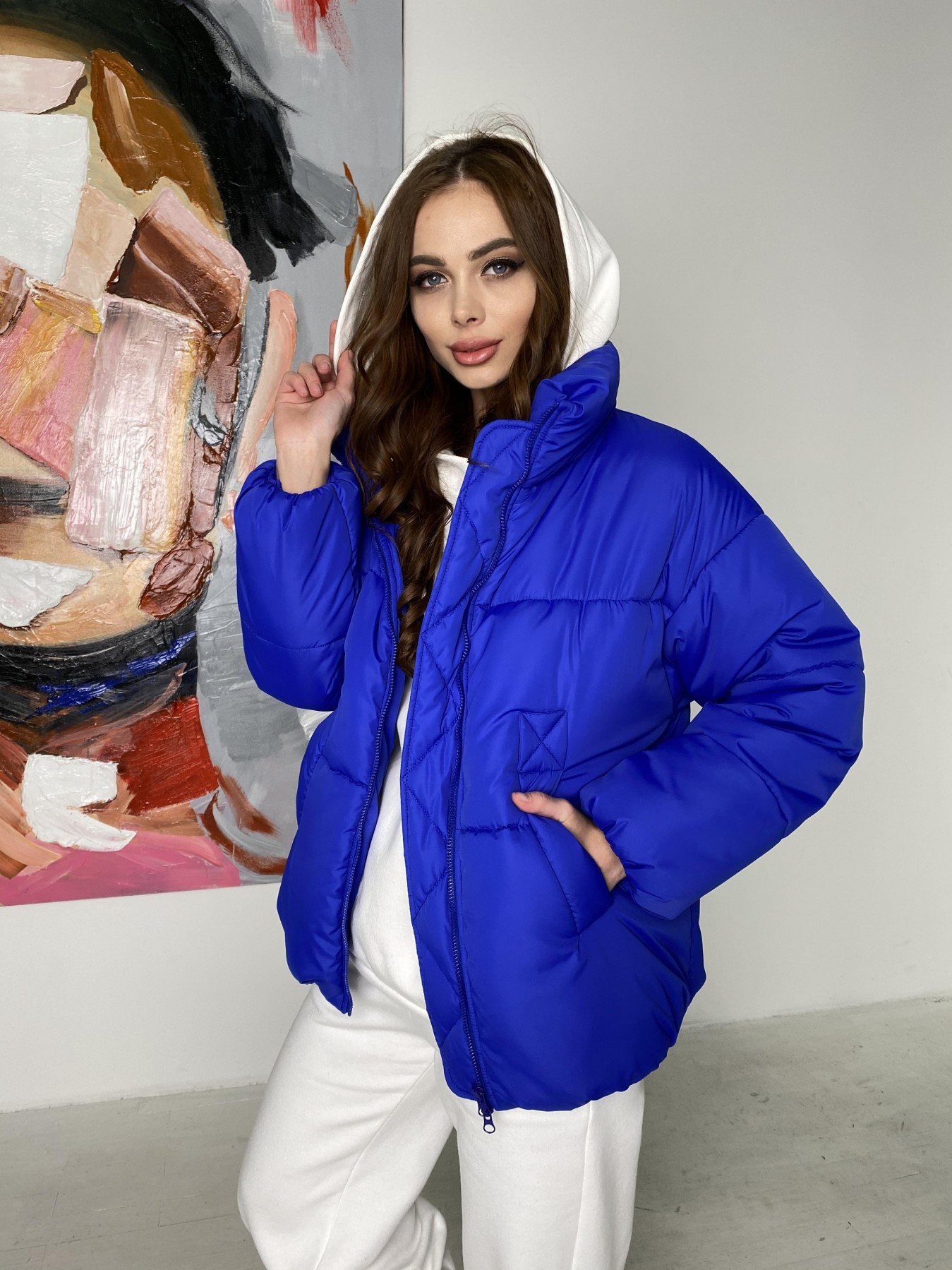 Муд куртка из плащевой ткани 10509 АРТ. 46852 Цвет: Электрик - фото 6, интернет магазин tm-modus.ru