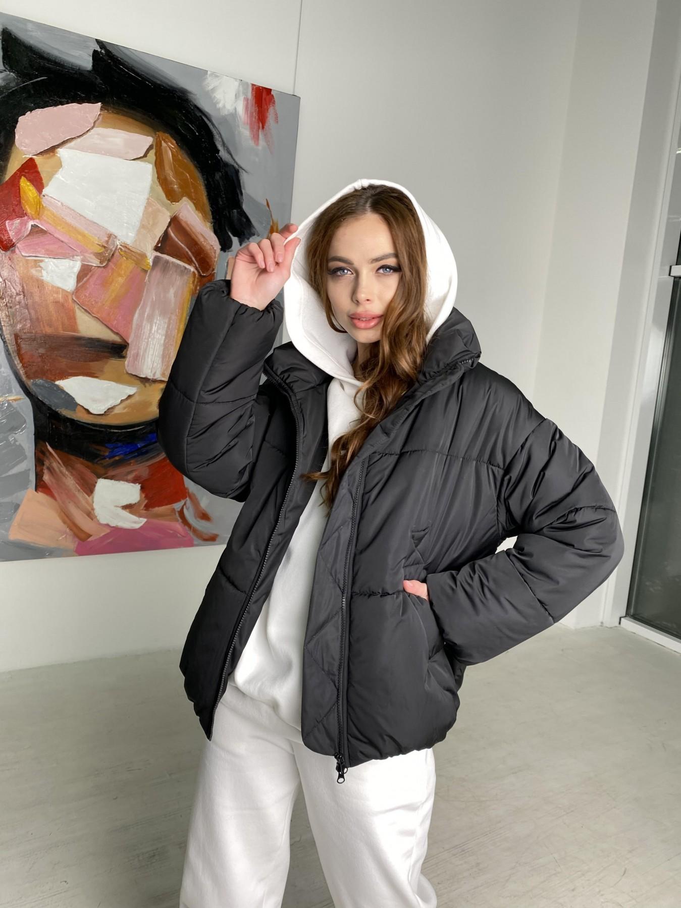 Муд куртка из плащевой ткани 10509 АРТ. 46854 Цвет: Черный - фото 1, интернет магазин tm-modus.ru