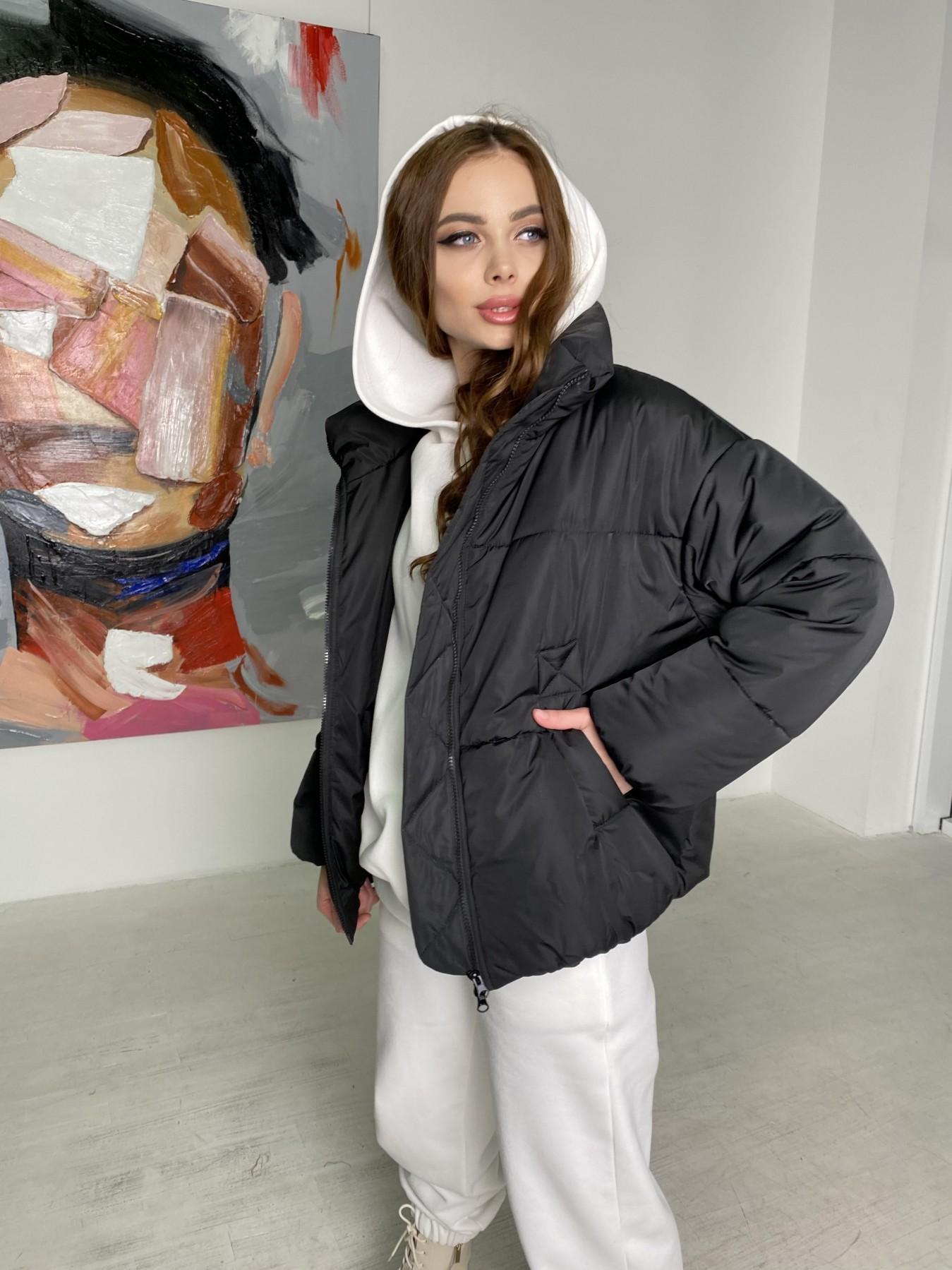 Муд куртка из плащевой ткани 10509 АРТ. 46854 Цвет: Черный - фото 3, интернет магазин tm-modus.ru