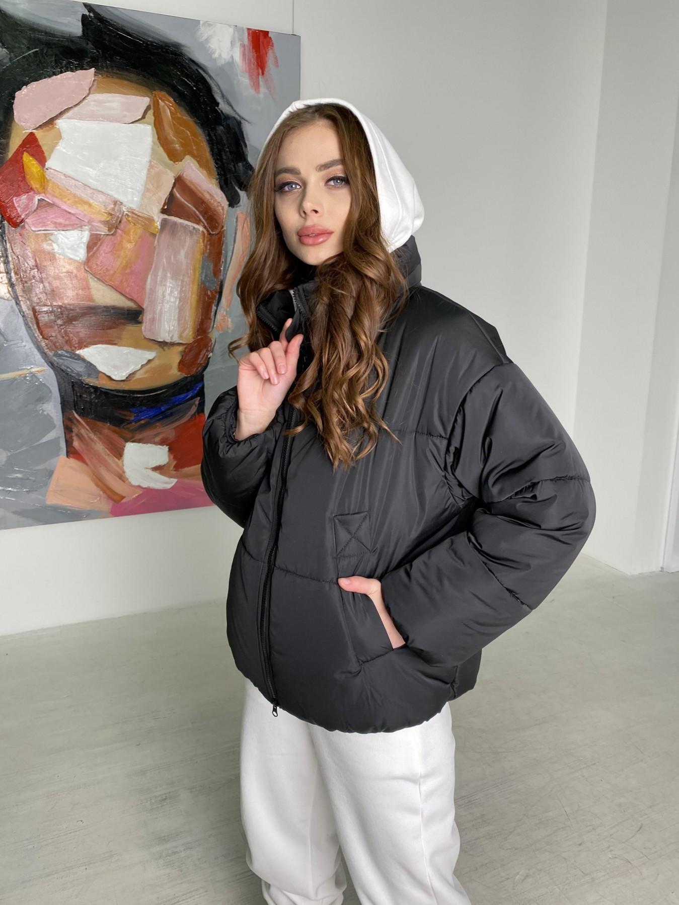 Муд куртка из плащевой ткани 10509 АРТ. 46854 Цвет: Черный - фото 4, интернет магазин tm-modus.ru