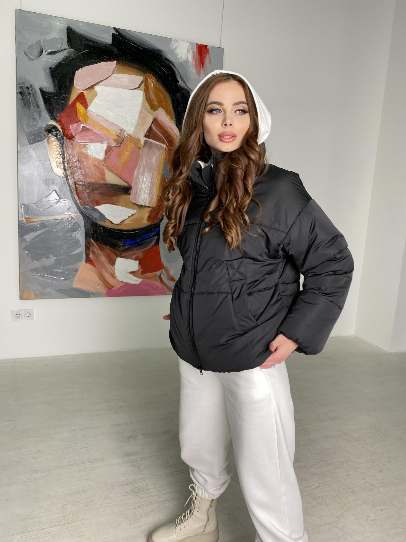 Муд куртка из плащевой ткани 10509 АРТ. 46854 Цвет: Черный - фото 5, интернет магазин tm-modus.ru