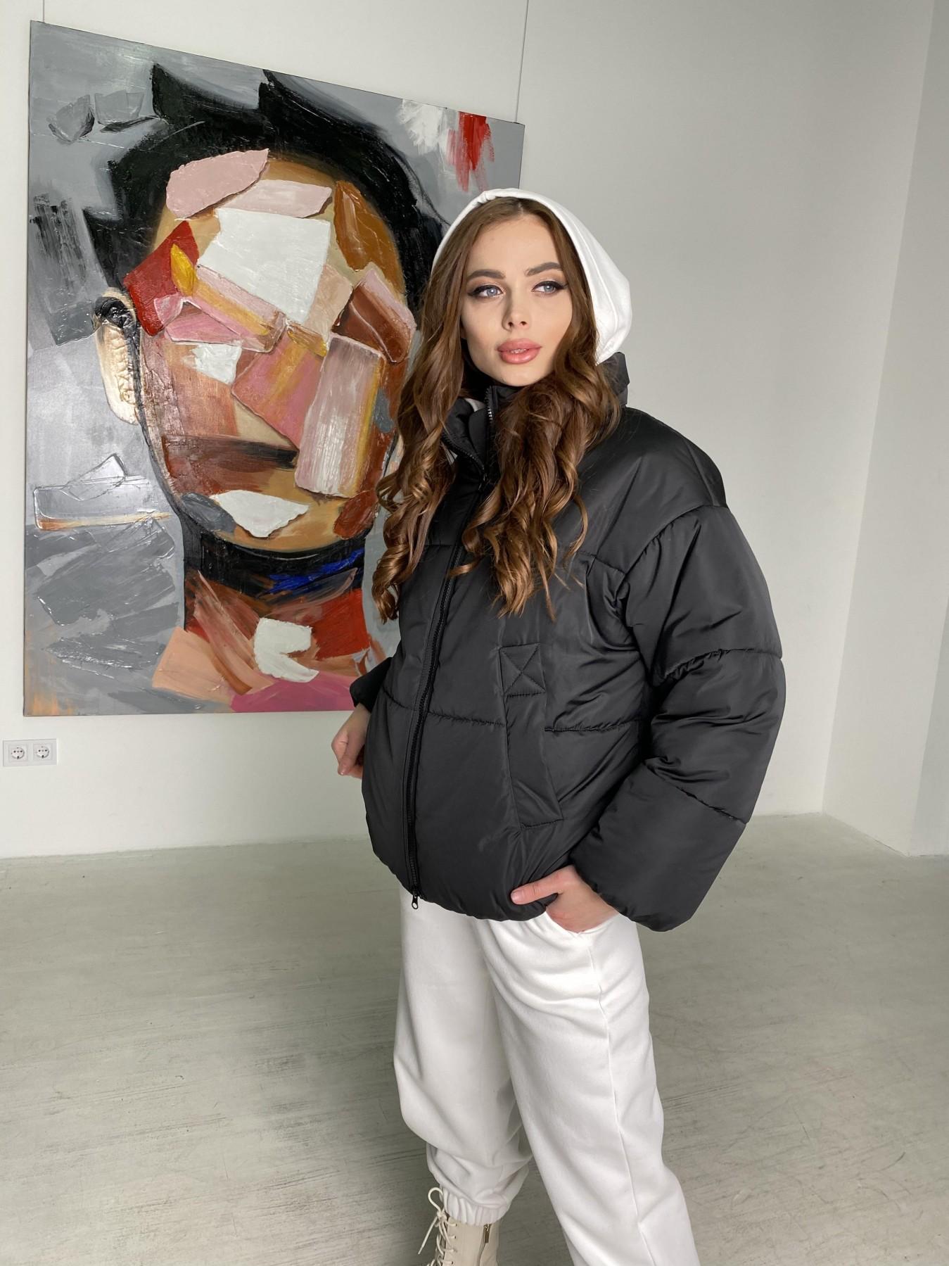 Муд куртка из плащевой ткани 10509 АРТ. 46854 Цвет: Черный - фото 6, интернет магазин tm-modus.ru