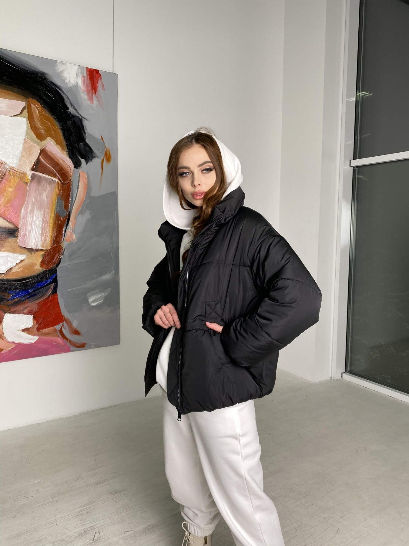 Муд куртка из плащевой ткани 10509 АРТ. 46854 Цвет: Черный - фото 7, интернет магазин tm-modus.ru