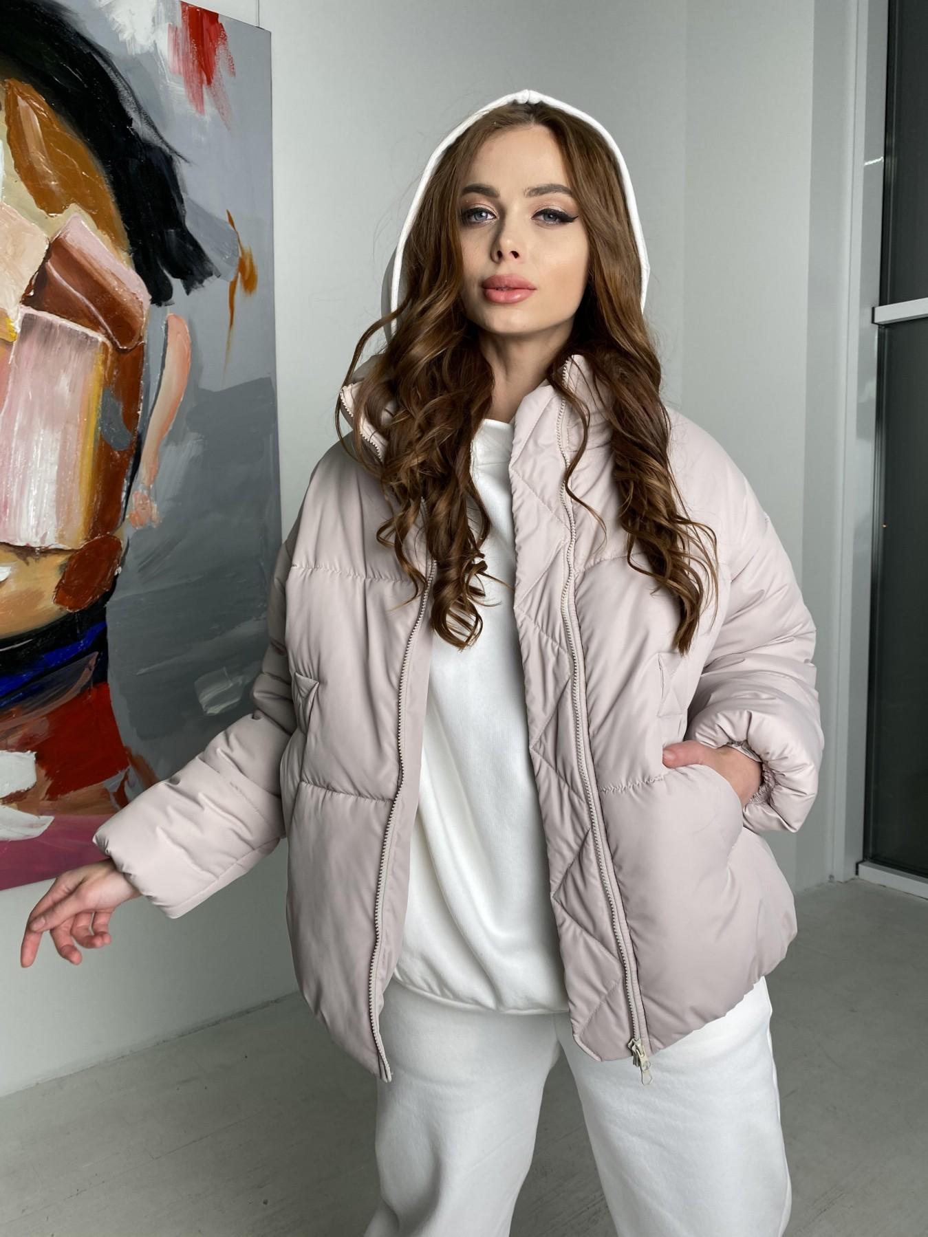 Муд куртка из плащевой ткани 10509 АРТ. 46853 Цвет: Бежевый 511 - фото 3, интернет магазин tm-modus.ru