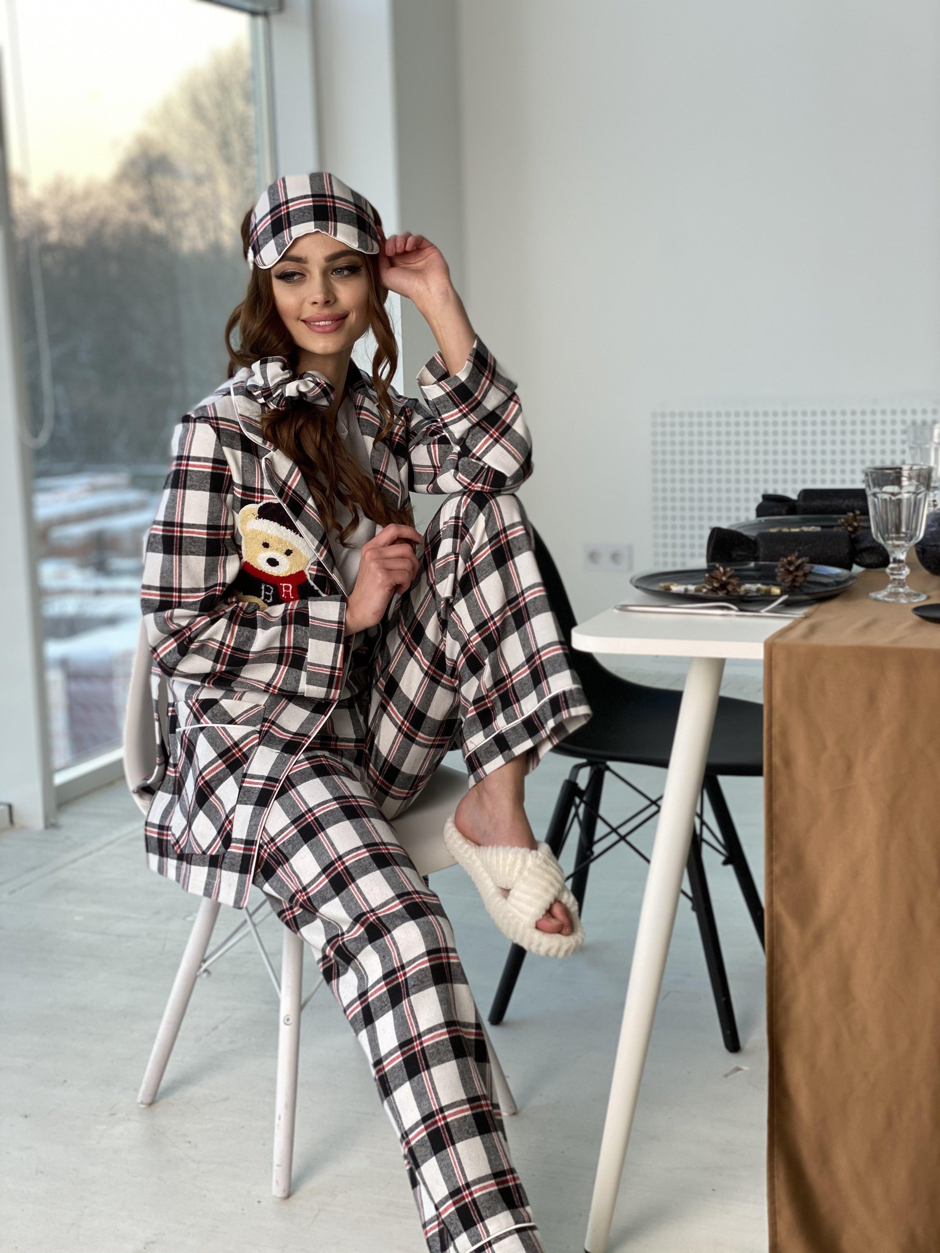 Тедди пижама в клетку из коттона(жакет,футболка,брюки,маска,резинка) 10384 АРТ. 46827 Цвет: Черный/белый/красный - фото 3, интернет магазин tm-modus.ru