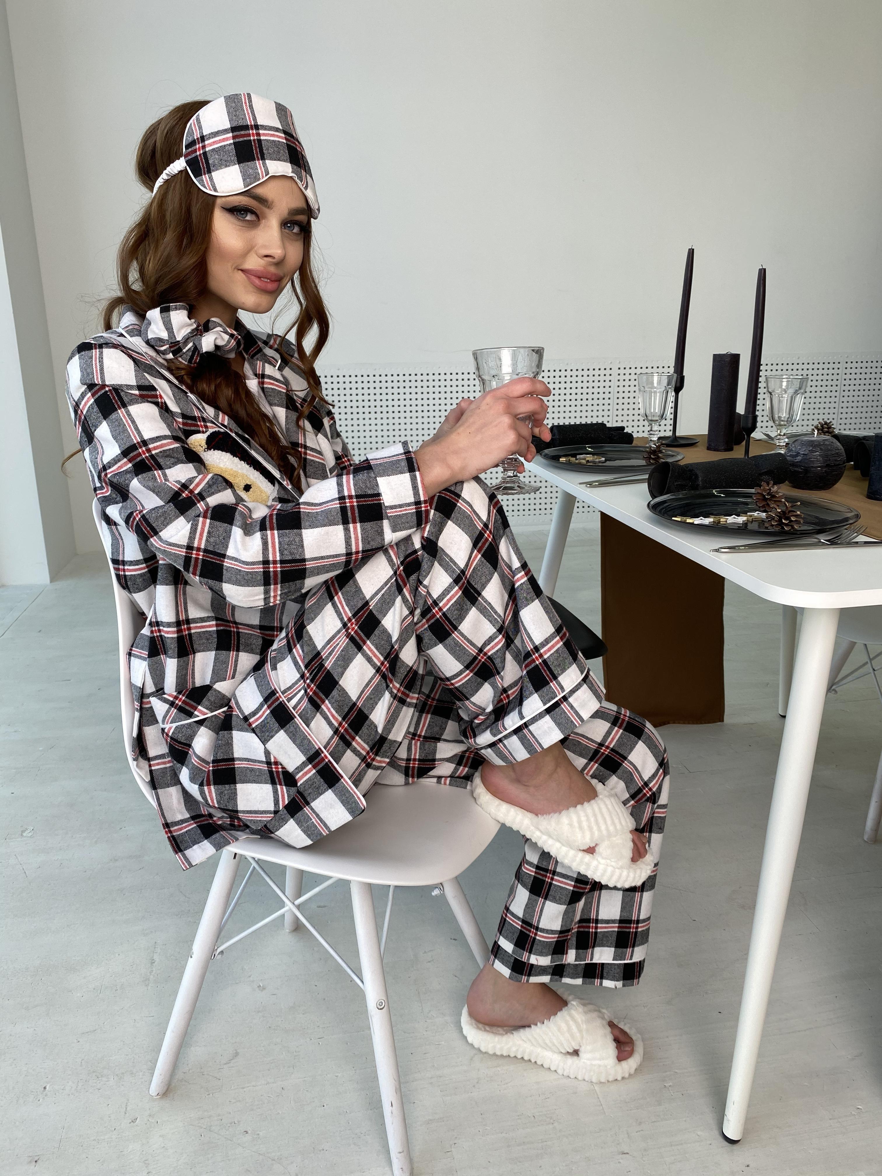 Тедди пижама в клетку из коттона(жакет,футболка,брюки,маска,резинка) 10384 АРТ. 46827 Цвет: Черный/белый/красный - фото 6, интернет магазин tm-modus.ru