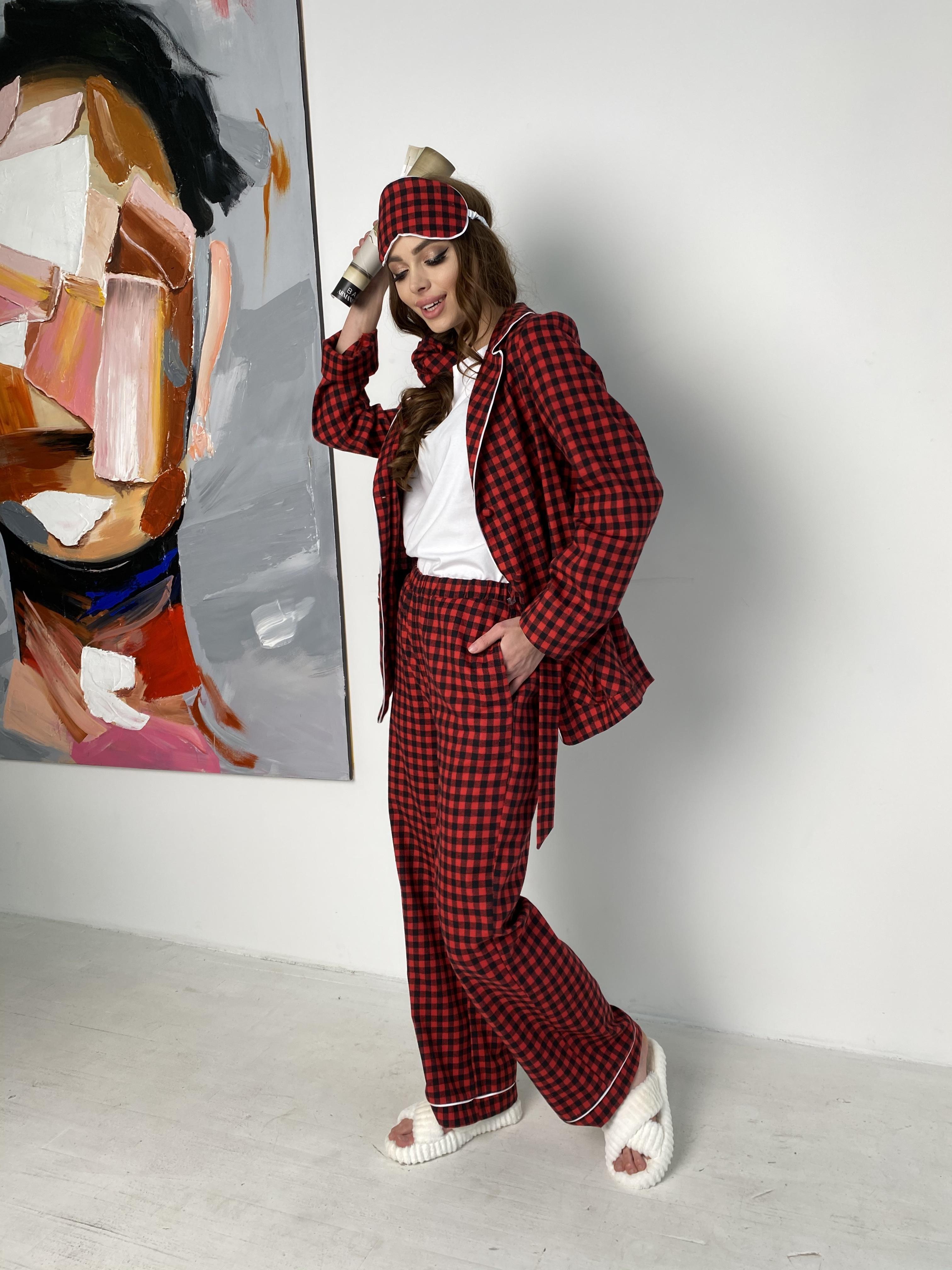 Тедди пижама в клетку из коттона(жакет,футболка,брюки,маска,резинка) 10384 АРТ. 46826 Цвет: Красный/черный - фото 1, интернет магазин tm-modus.ru