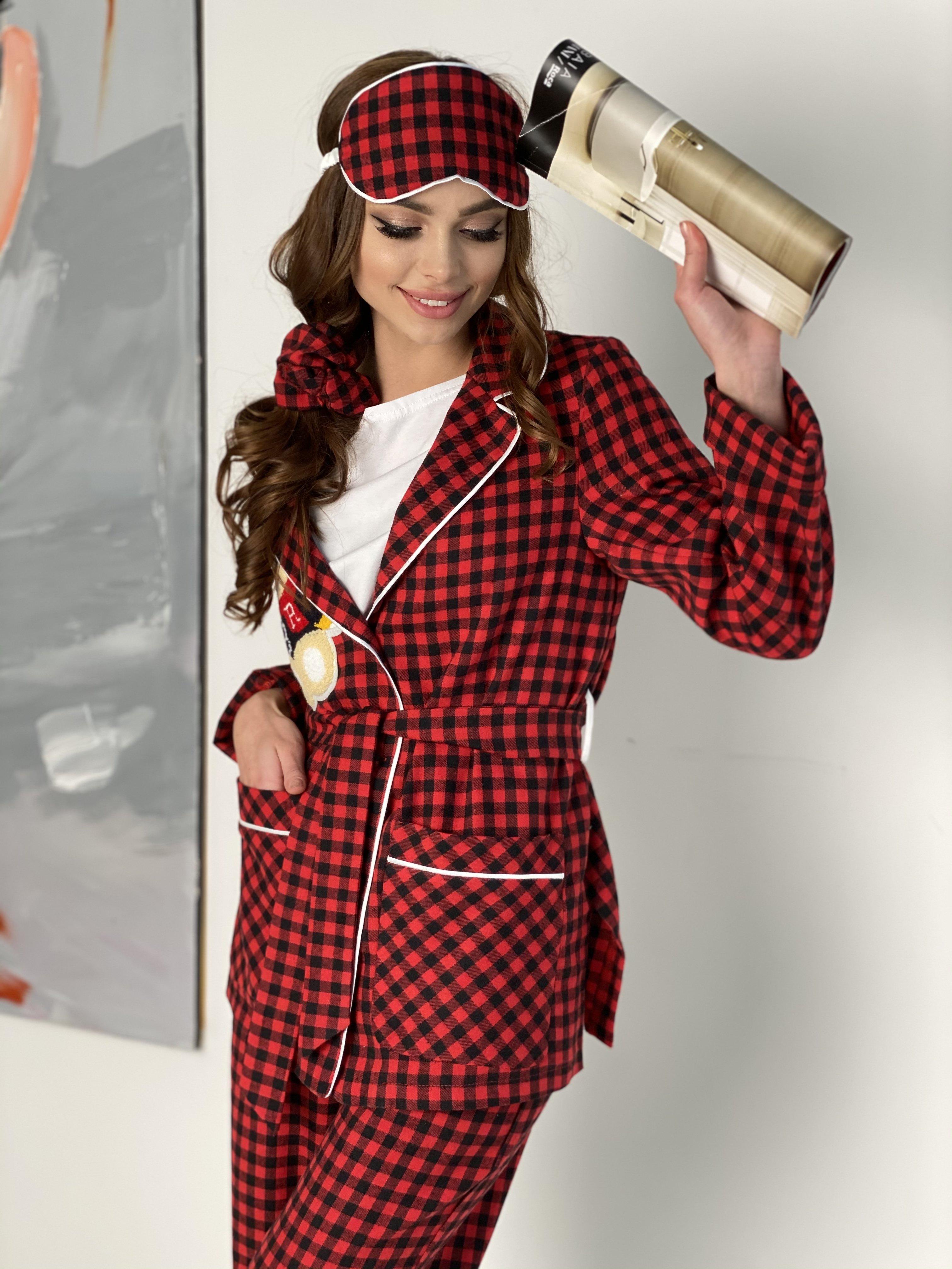 Тедди пижама в клетку из коттона(жакет,футболка,брюки,маска,резинка) 10384 АРТ. 46826 Цвет: Красный/черный - фото 3, интернет магазин tm-modus.ru