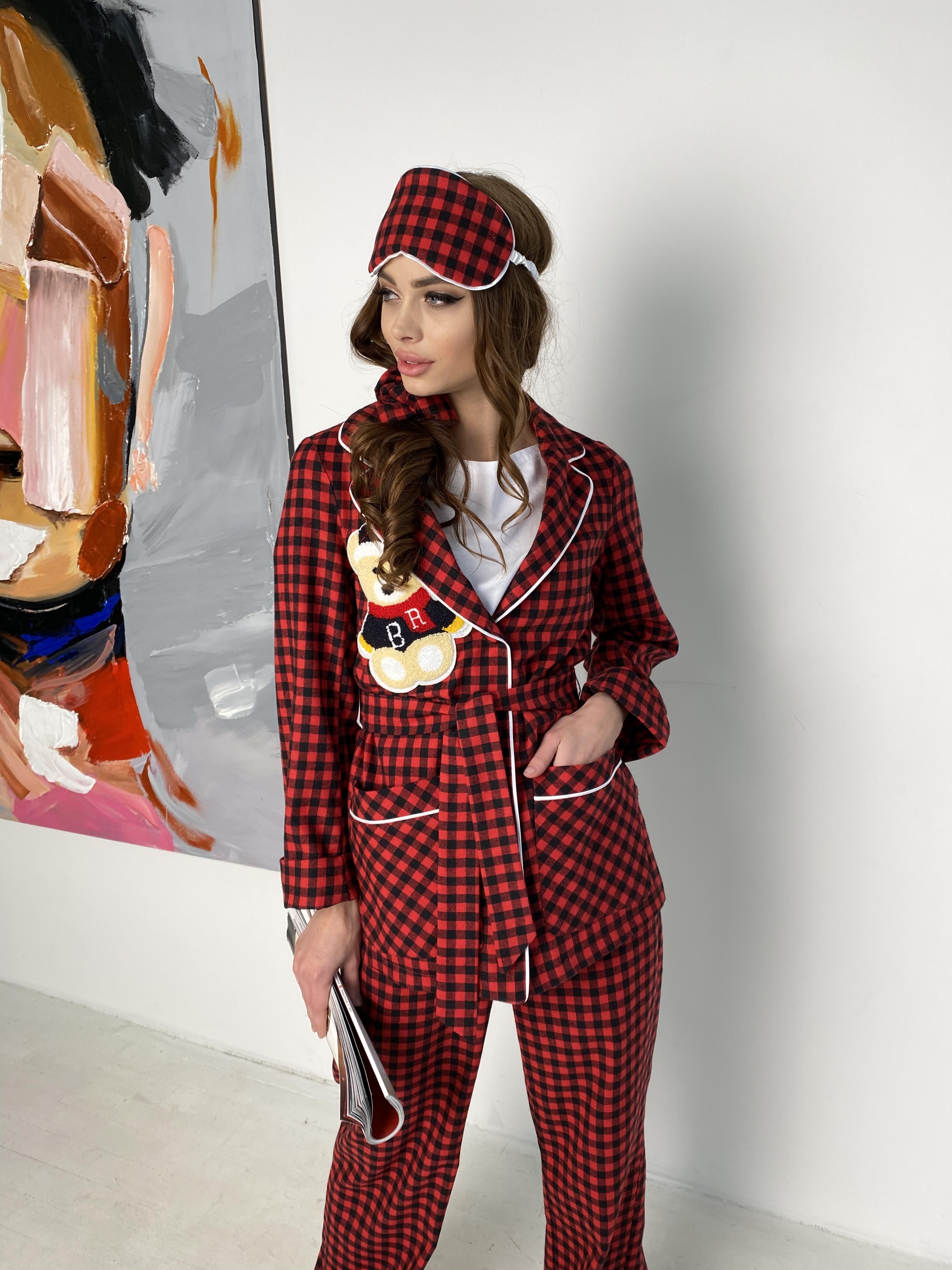 Женские костюмы оптом от производителя Modus Тедди пижама в клетку из коттона(жакет,футболка,брюки,маска,резинка) 10384