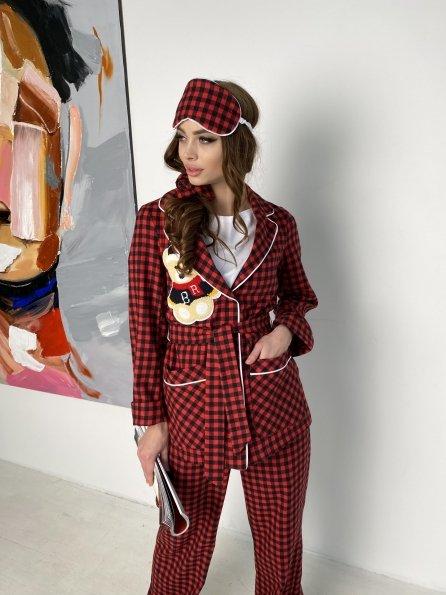"""Купить """"Тедди"""" пижама в клетку из коттона(жакет,футболка,брюки,маска,резинка) 10384 оптом и в розницу"""