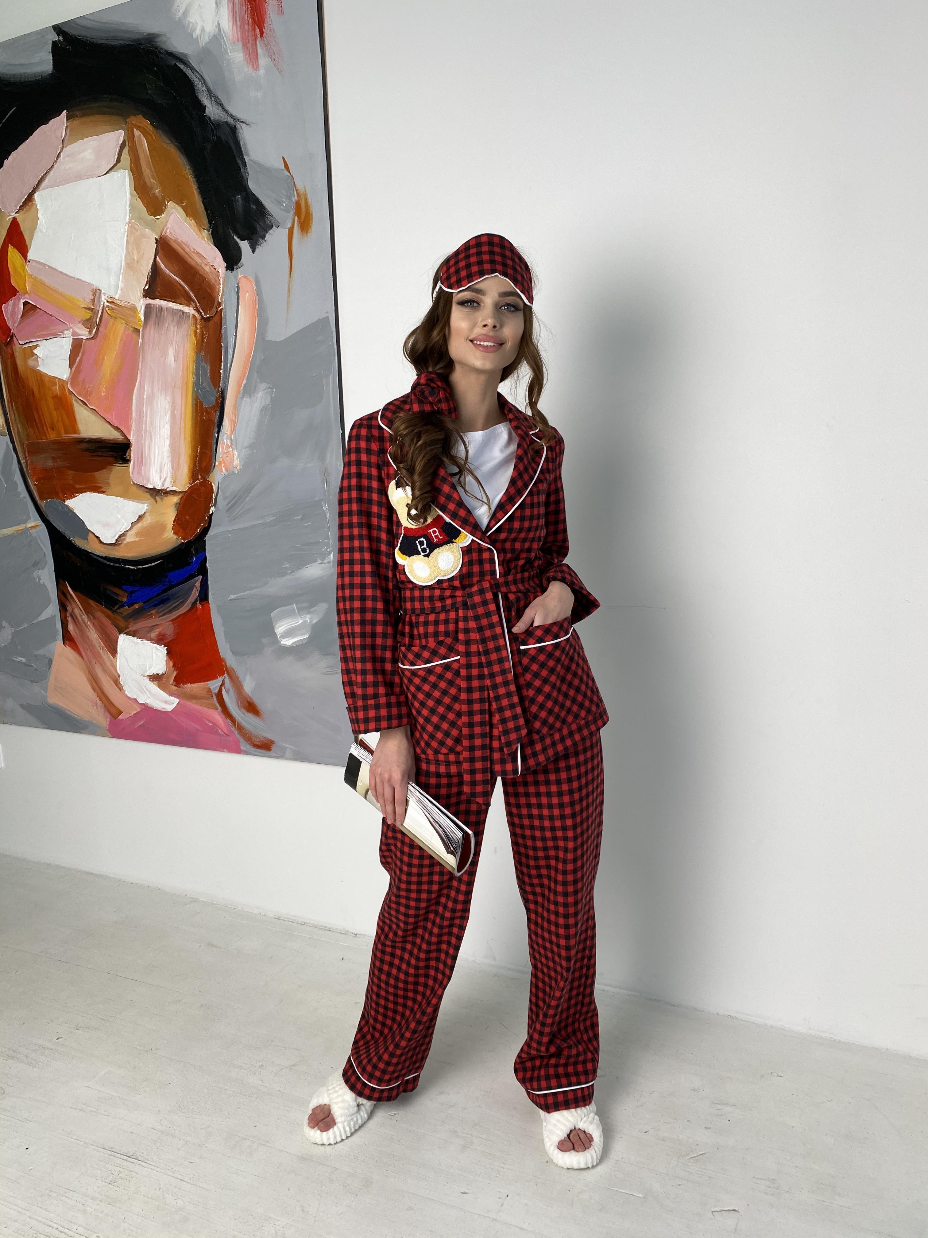 Тедди пижама в клетку из коттона(жакет,футболка,брюки,маска,резинка) 10384 АРТ. 46826 Цвет: Красный/черный - фото 5, интернет магазин tm-modus.ru