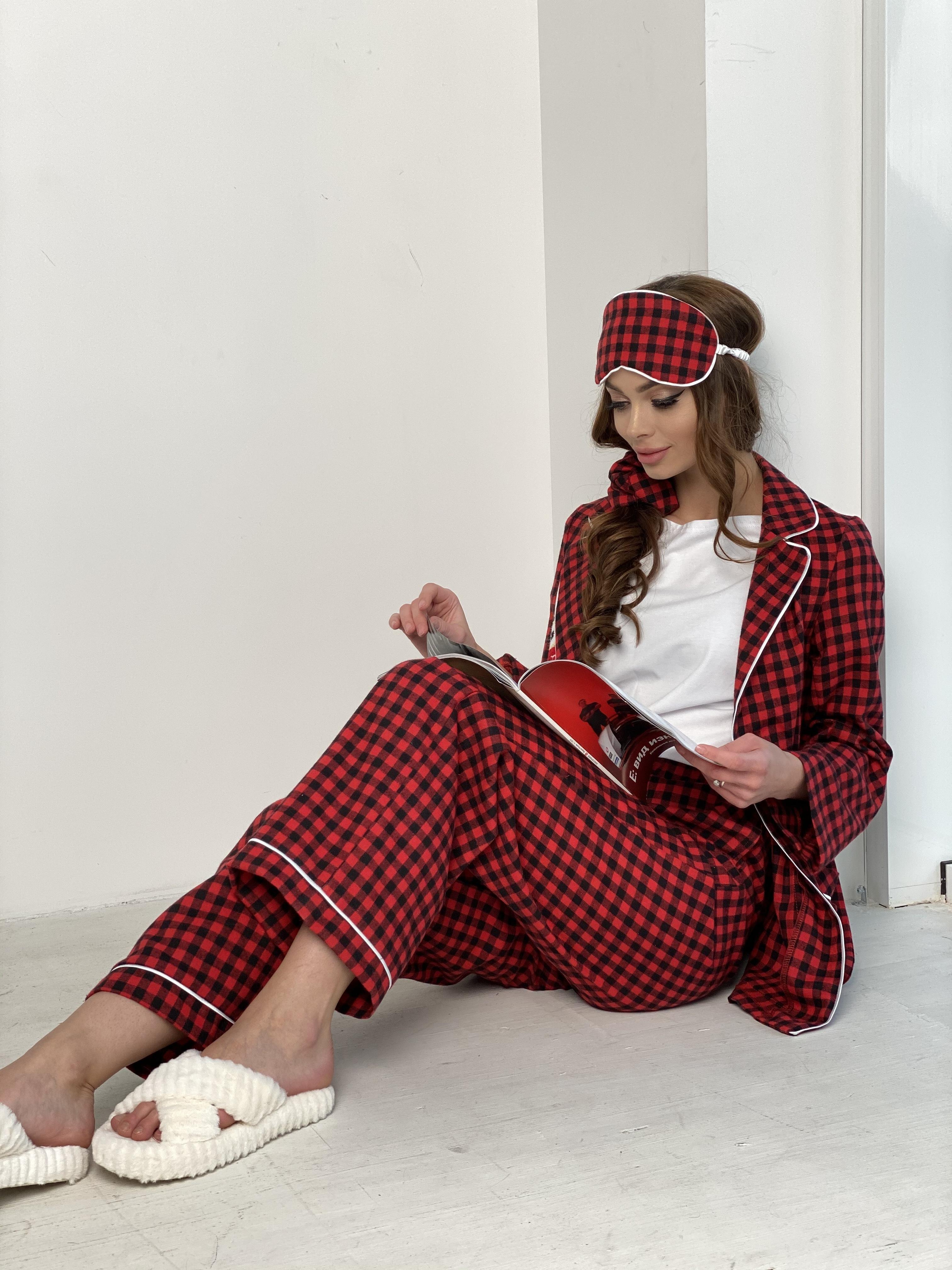 Тедди пижама в клетку из коттона(жакет,футболка,брюки,маска,резинка) 10384 АРТ. 46826 Цвет: Красный/черный - фото 6, интернет магазин tm-modus.ru