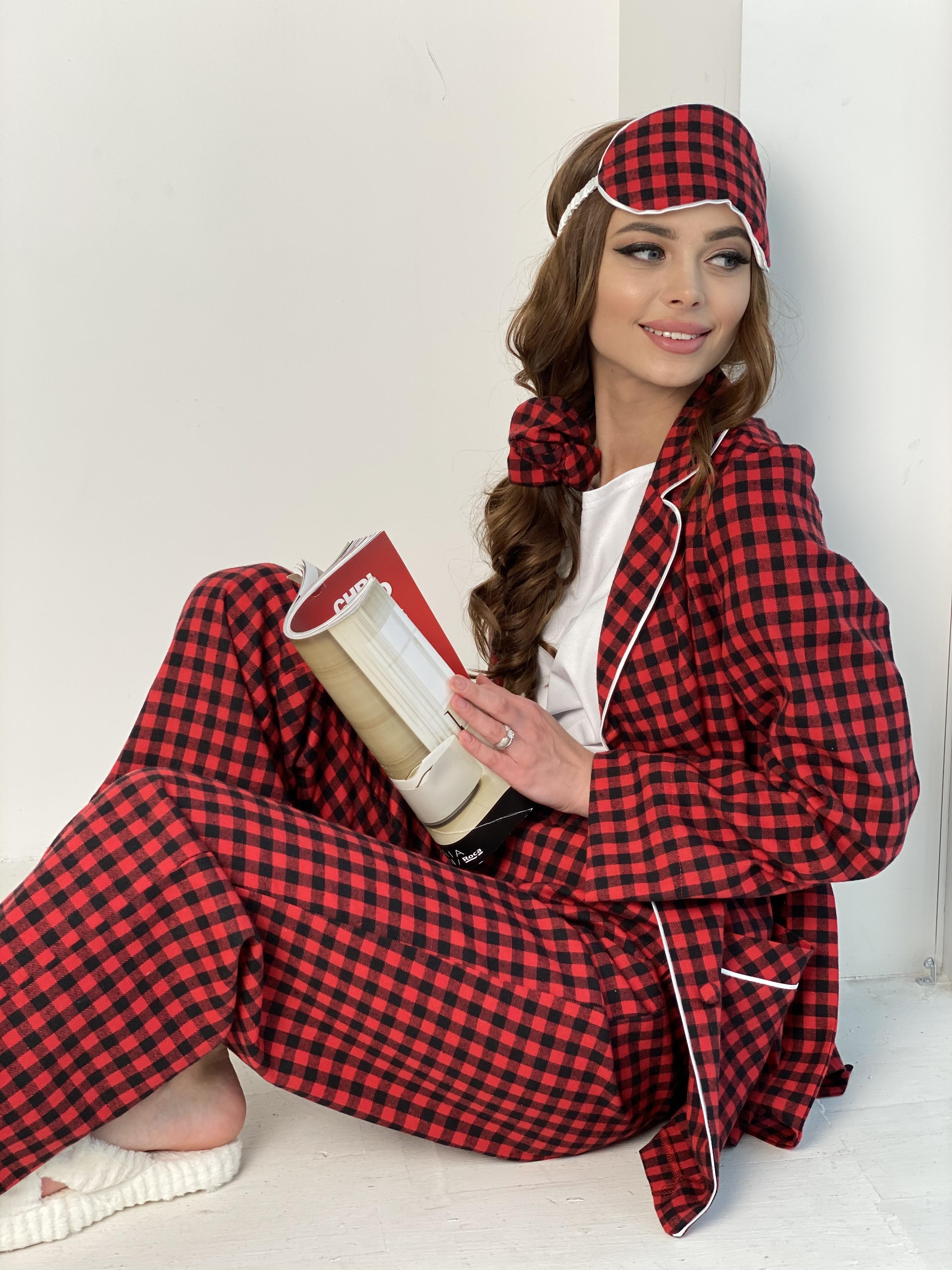 Тедди пижама в клетку из коттона(жакет,футболка,брюки,маска,резинка) 10384 АРТ. 46826 Цвет: Красный/черный - фото 7, интернет магазин tm-modus.ru