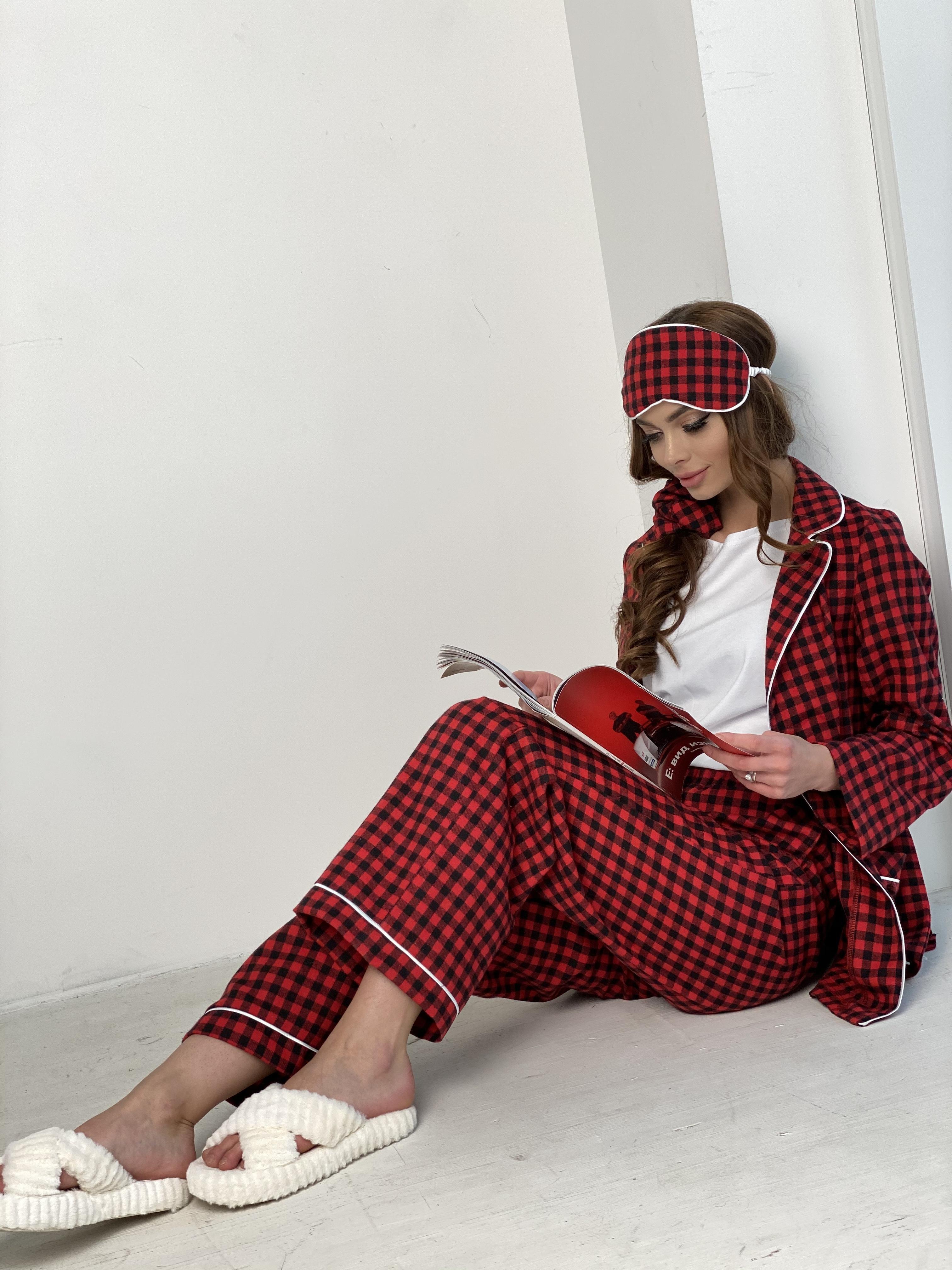 Тедди пижама в клетку из коттона(жакет,футболка,брюки,маска,резинка) 10384 АРТ. 46826 Цвет: Красный/черный - фото 8, интернет магазин tm-modus.ru