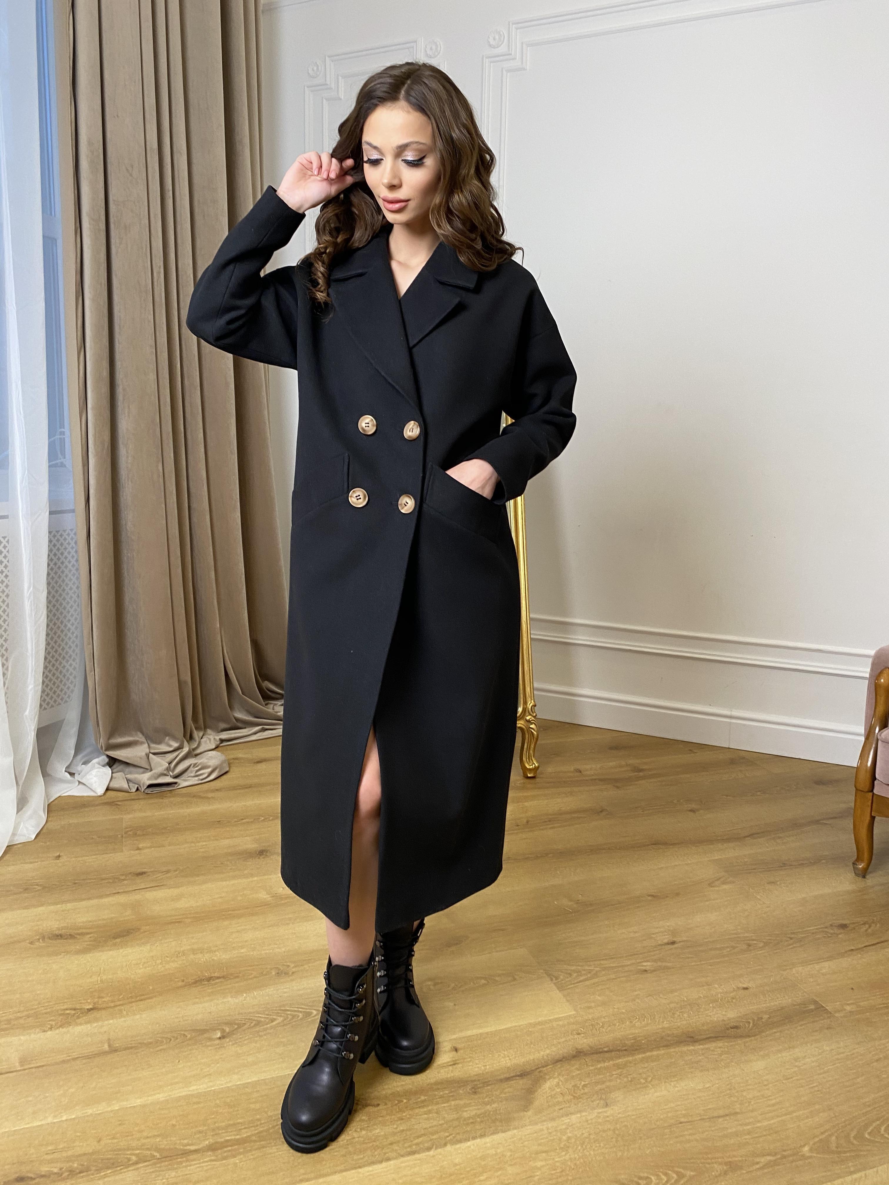 Сенсей пальто макси из кашемира   10309 АРТ. 46614 Цвет: Черный - фото 1, интернет магазин tm-modus.ru