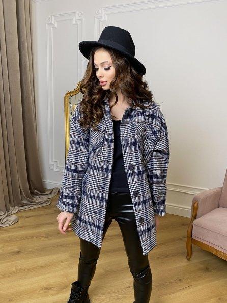 Энрике клетка крупная пальтовая ткань пальто 9036 Цвет: Т.синий/белый/беж