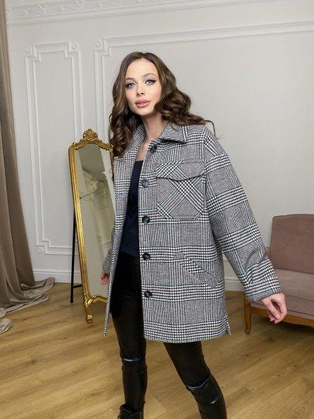 Энрике клетка крупная пальтовая ткань пальто 9036 Цвет: Черный/молоко/изумруд