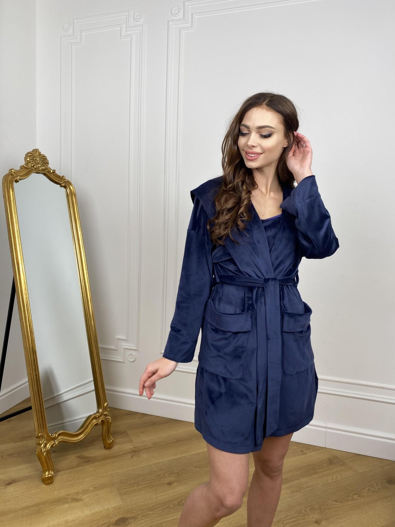 Фабьен халат из  велюровой ткани  10483 АРТ. 46839 Цвет: т. синий - фото 2, интернет магазин tm-modus.ru