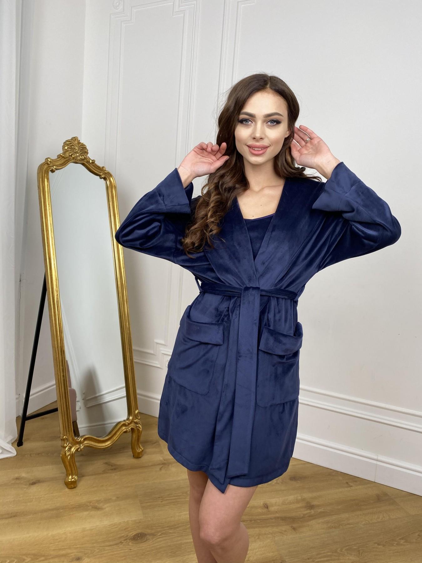Фабьен халат из  велюровой ткани  10483 АРТ. 46839 Цвет: т. синий - фото 3, интернет магазин tm-modus.ru