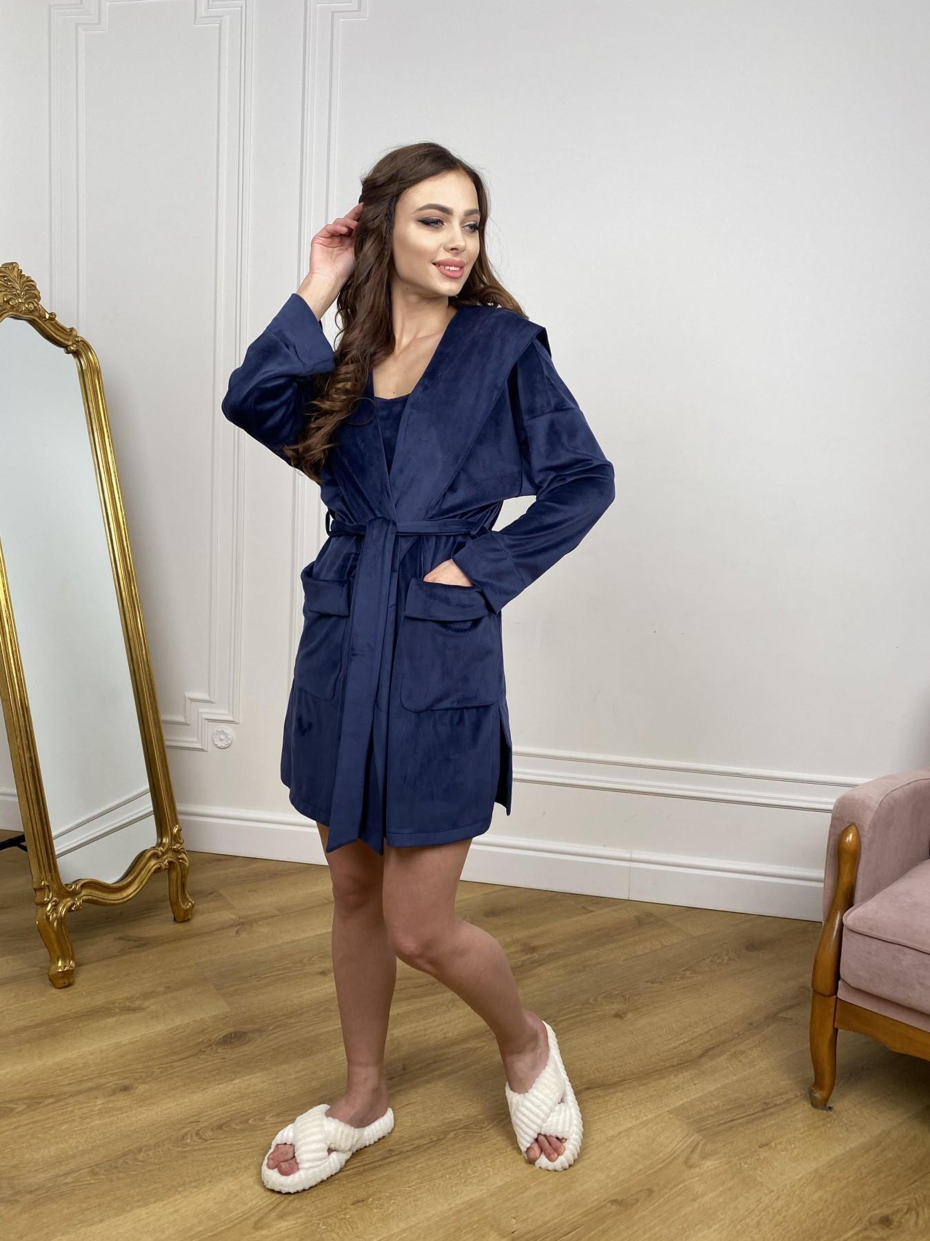 Фабьен халат из  велюровой ткани  10483 АРТ. 46839 Цвет: т. синий - фото 4, интернет магазин tm-modus.ru