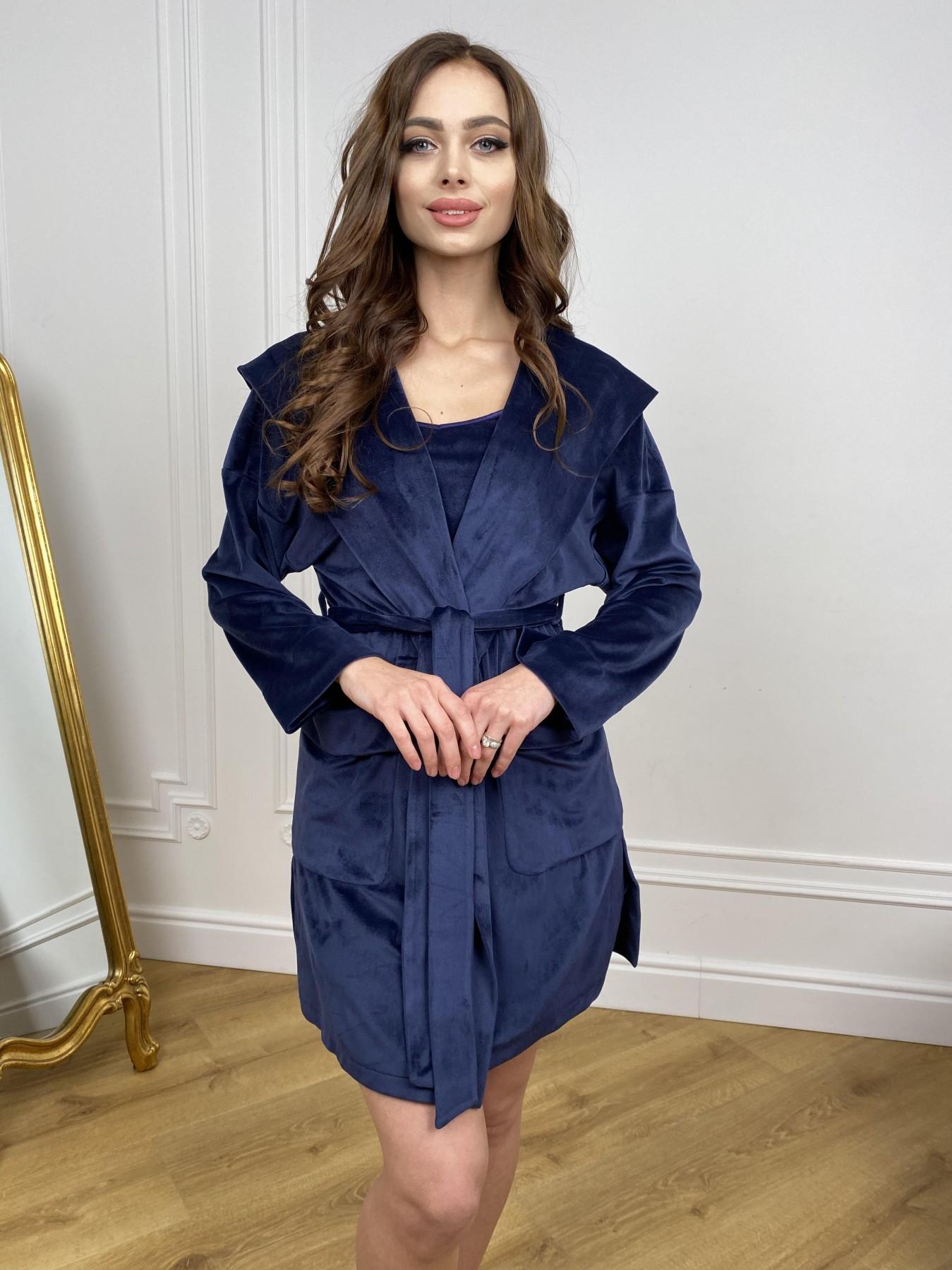Фабьен халат из  велюровой ткани  10483 АРТ. 46839 Цвет: т. синий - фото 6, интернет магазин tm-modus.ru