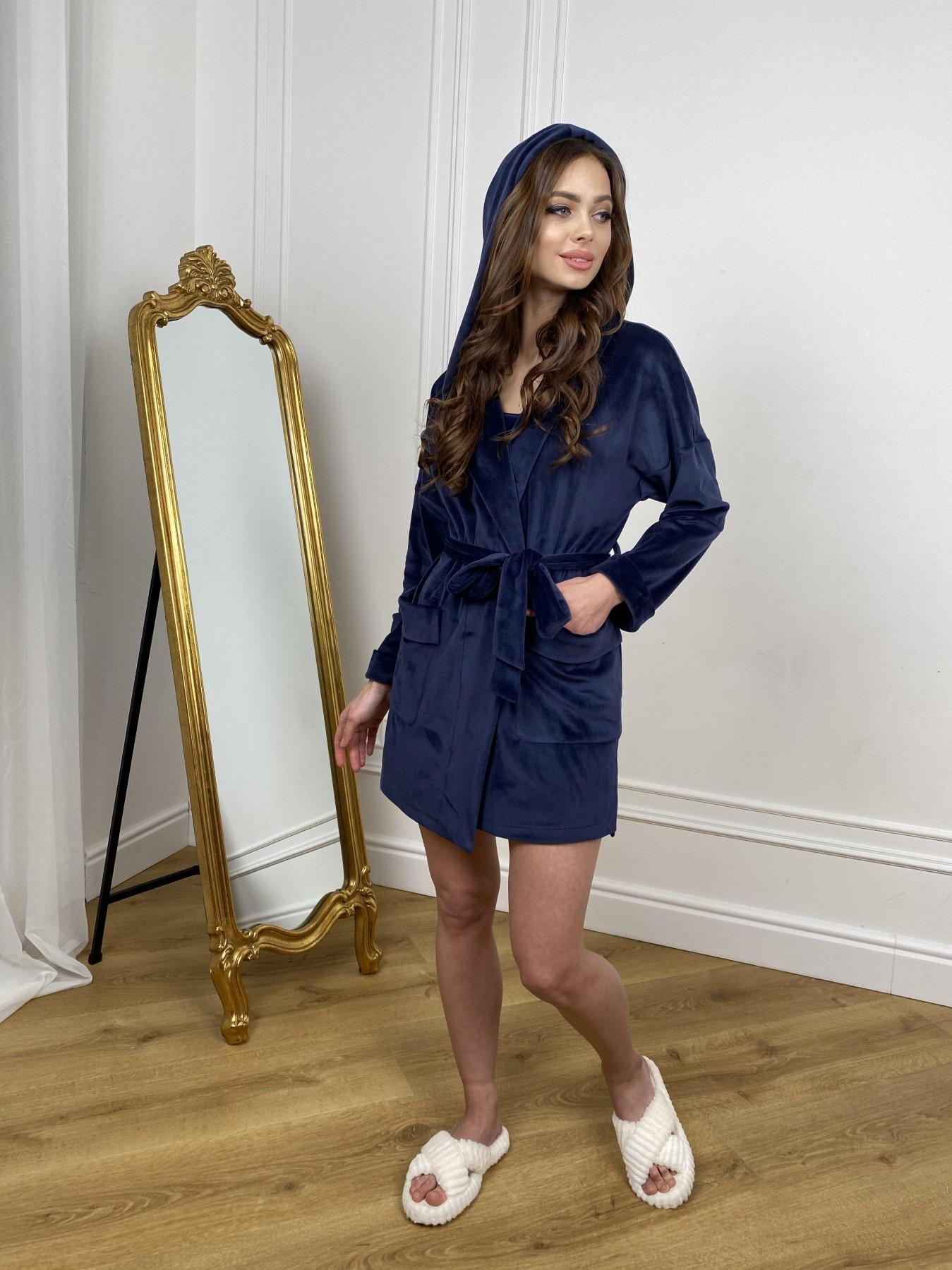 Фабьен мини халат из велюровой ткани 10516 АРТ. 46864 Цвет: т. синий - фото 1, интернет магазин tm-modus.ru
