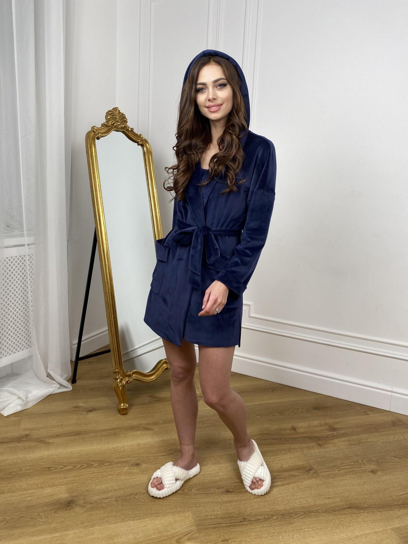 Фабьен мини халат из велюровой ткани 10516 АРТ. 46864 Цвет: т. синий - фото 3, интернет магазин tm-modus.ru