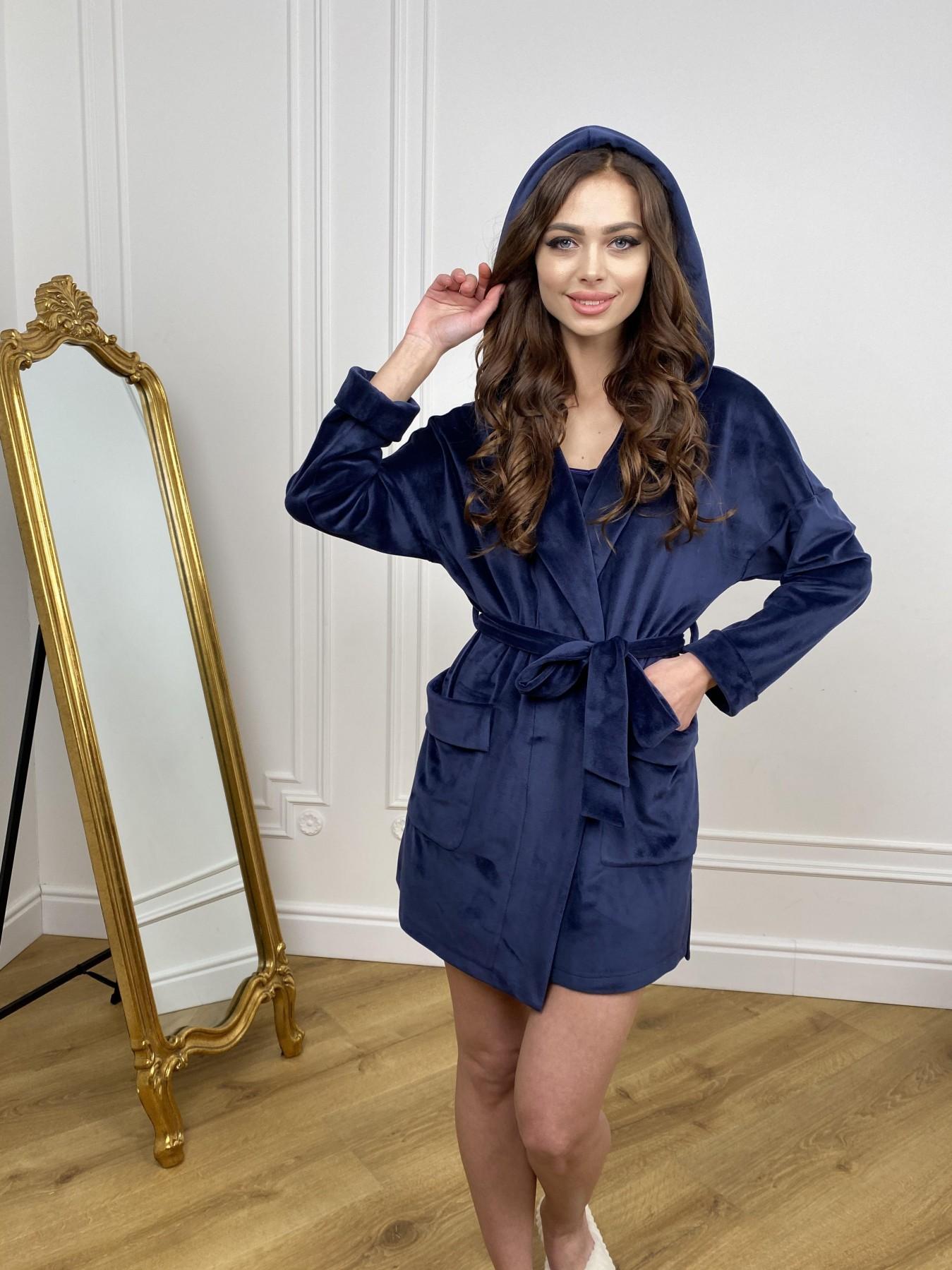Фабьен мини халат из велюровой ткани 10516 АРТ. 46864 Цвет: т. синий - фото 4, интернет магазин tm-modus.ru