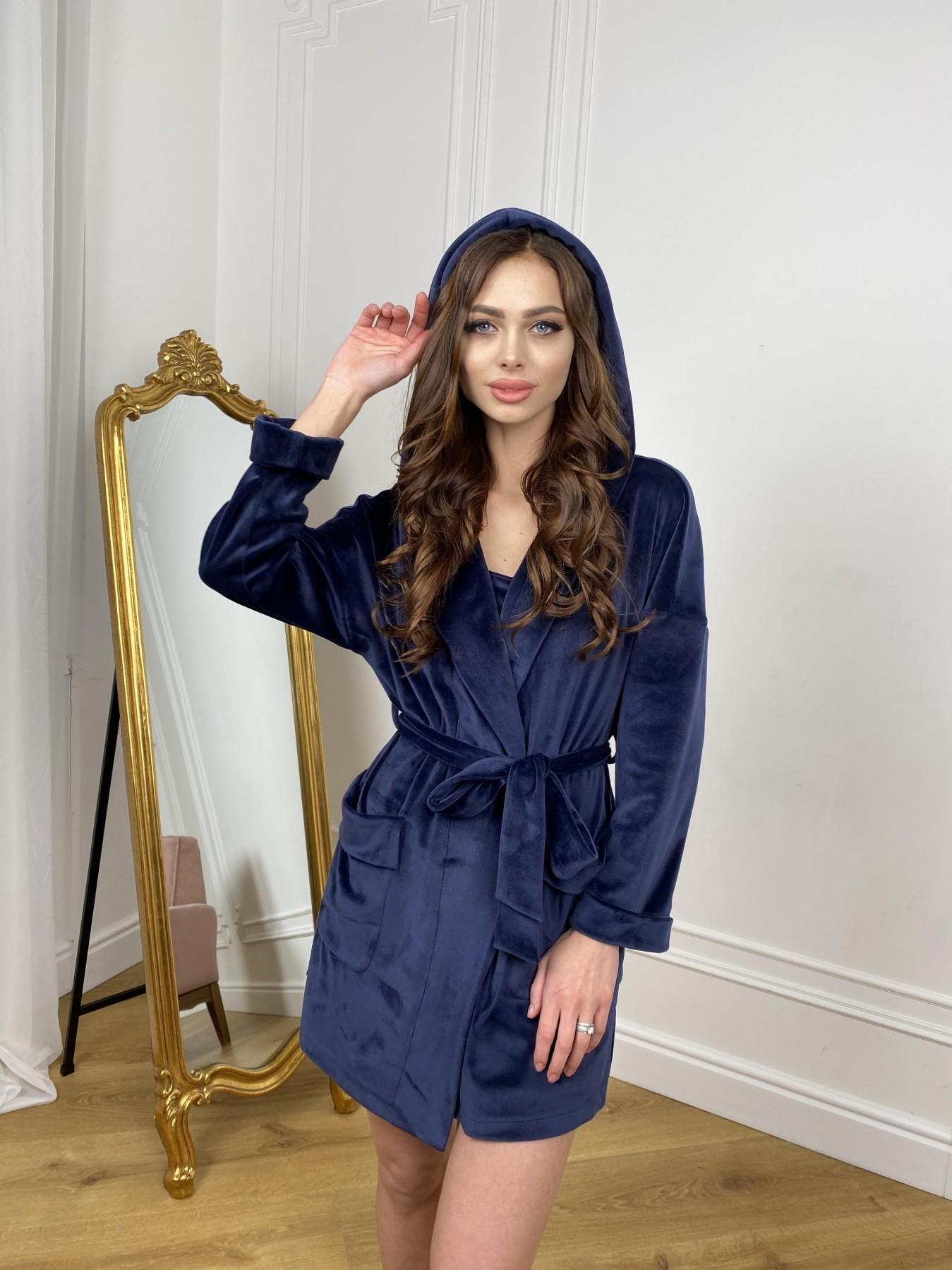 Фабьен мини халат из велюровой ткани 10516 АРТ. 46864 Цвет: т. синий - фото 9, интернет магазин tm-modus.ru