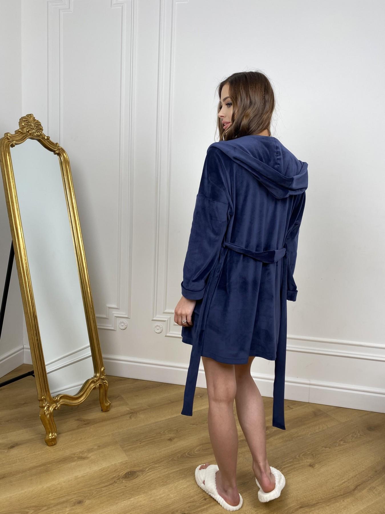 Фабьен мини халат из велюровой ткани 10516 АРТ. 46864 Цвет: т. синий - фото 10, интернет магазин tm-modus.ru