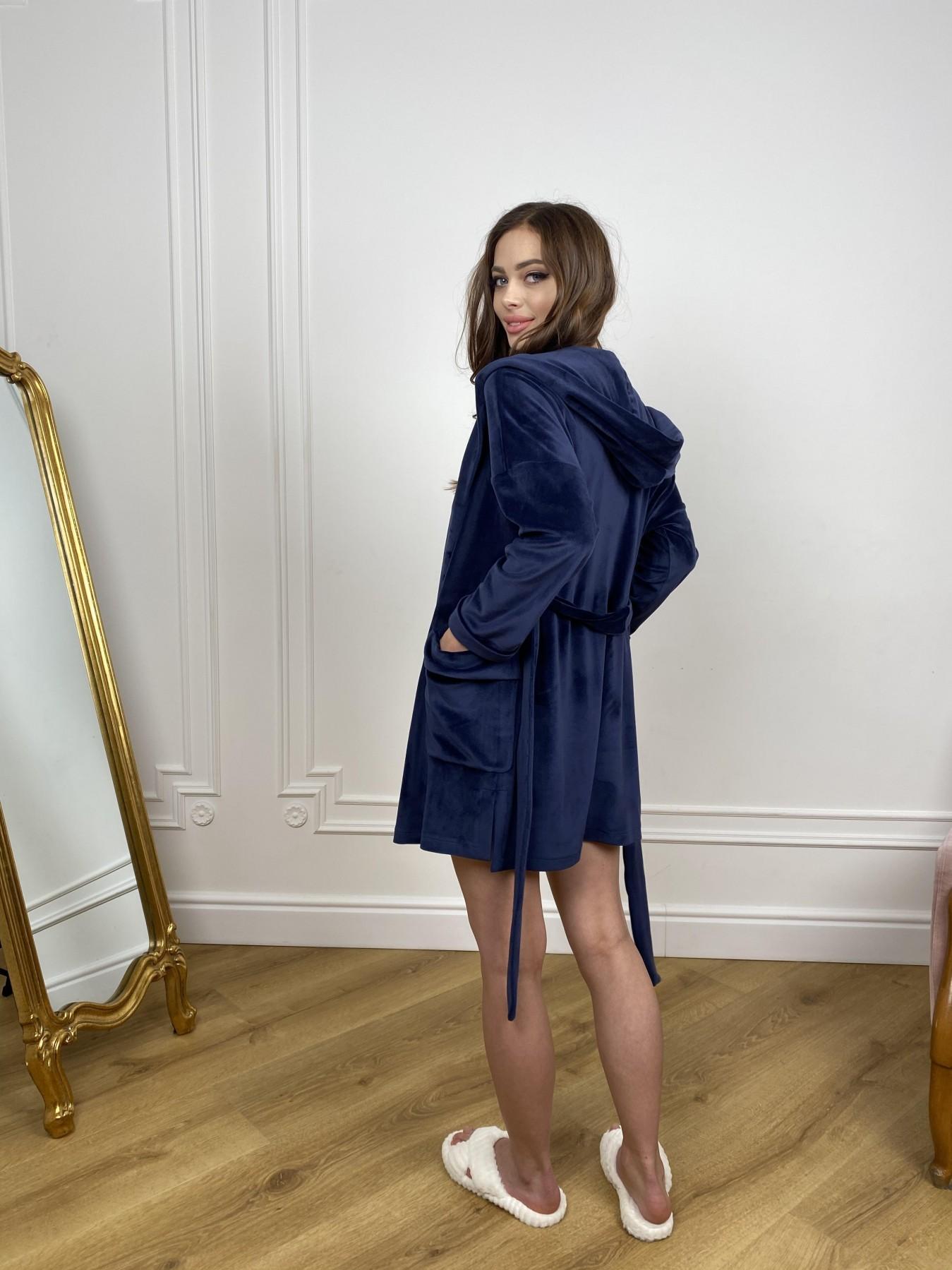 Фабьен мини халат из велюровой ткани 10516 АРТ. 46864 Цвет: т. синий - фото 11, интернет магазин tm-modus.ru
