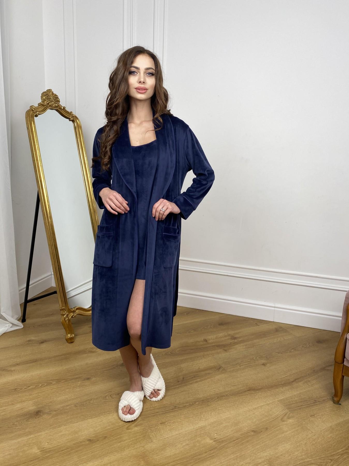 Сандрин миди халат из велюровой ткани 10510 АРТ. 46849 Цвет: т. синий - фото 1, интернет магазин tm-modus.ru