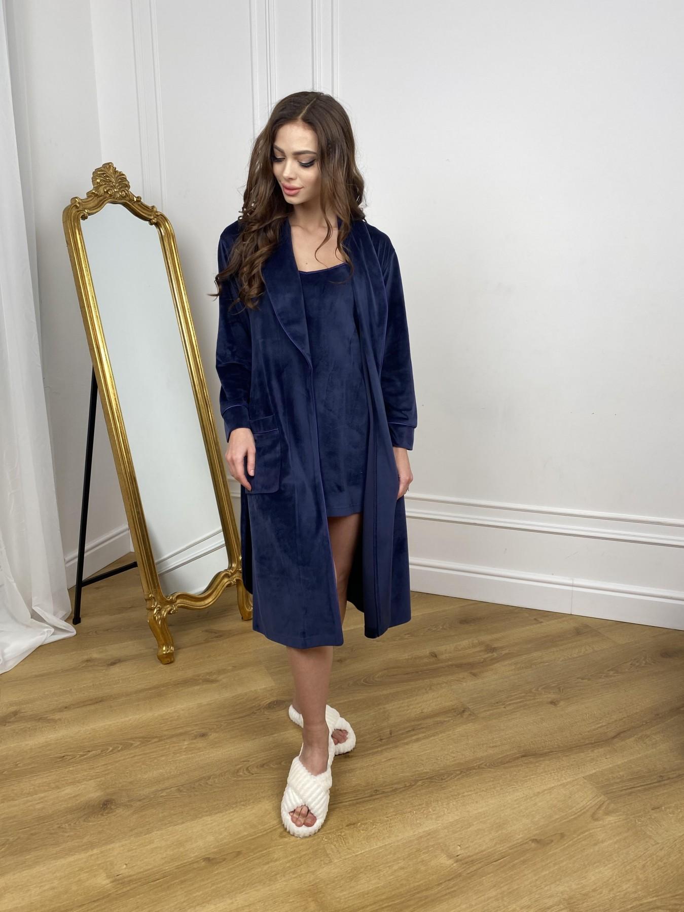 Сандрин миди халат из велюровой ткани 10510 АРТ. 46849 Цвет: т. синий - фото 3, интернет магазин tm-modus.ru