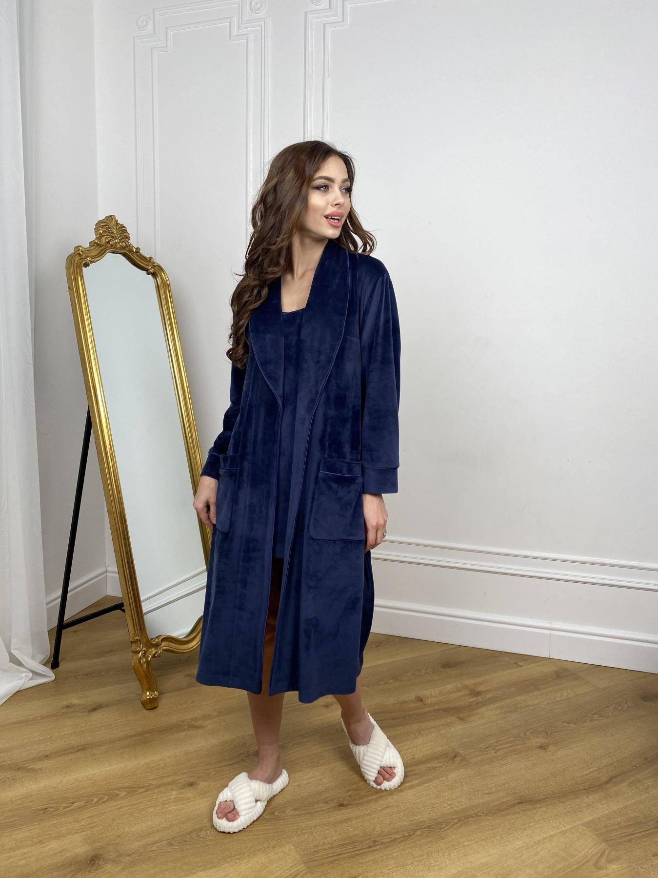 Сандрин миди халат из велюровой ткани 10510 АРТ. 46849 Цвет: т. синий - фото 2, интернет магазин tm-modus.ru