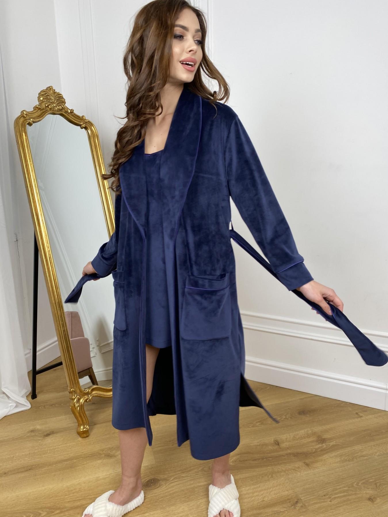 Сандрин миди халат из велюровой ткани 10510 АРТ. 46849 Цвет: т. синий - фото 5, интернет магазин tm-modus.ru