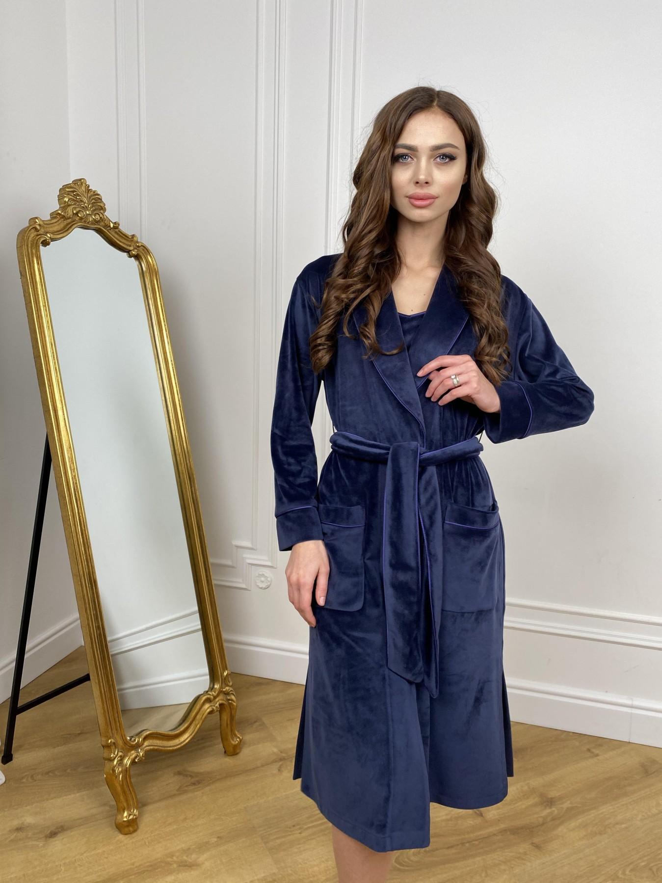 Сандрин миди халат из велюровой ткани 10510 АРТ. 46849 Цвет: т. синий - фото 6, интернет магазин tm-modus.ru