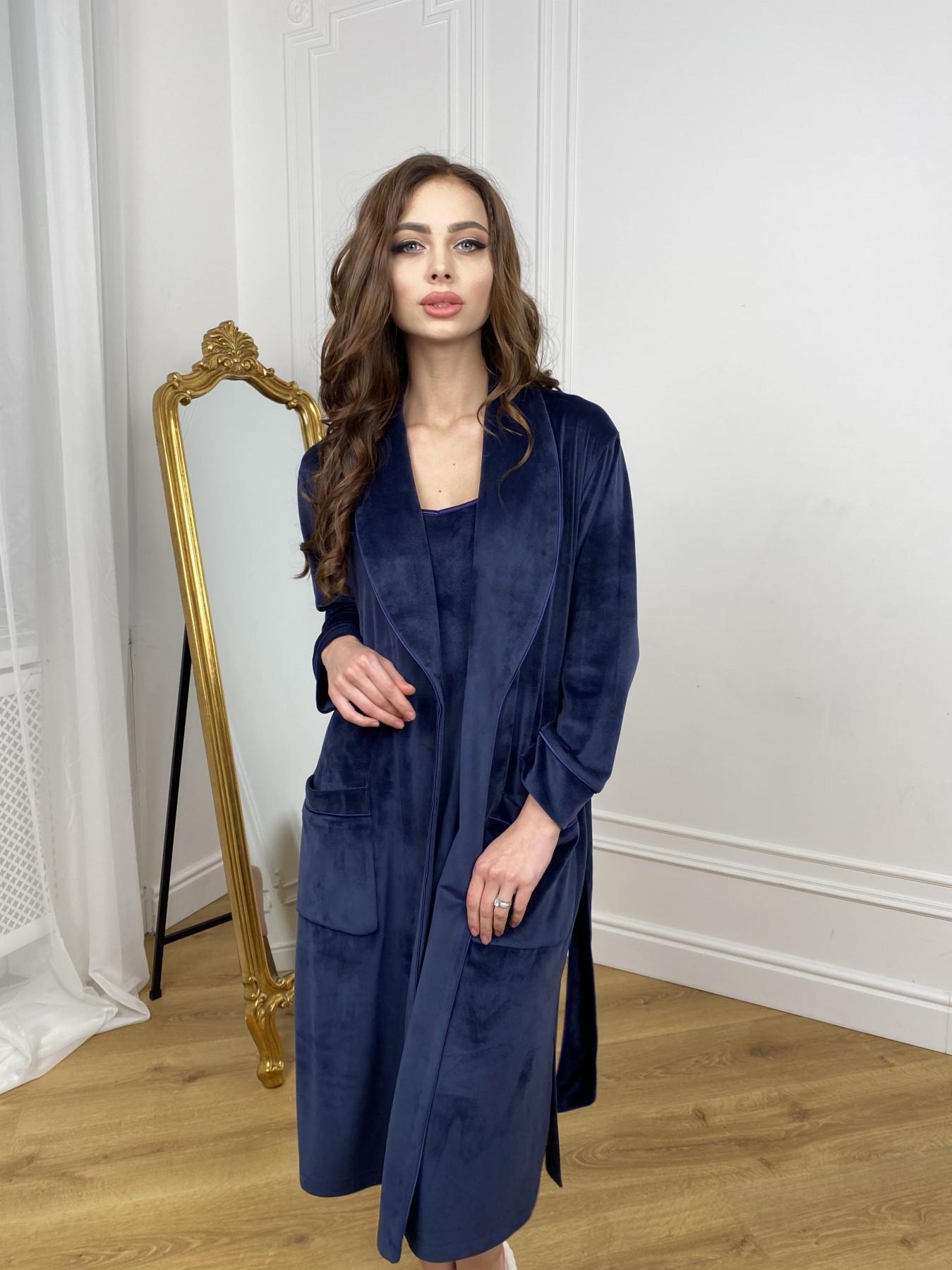 Сандрин миди халат из велюровой ткани 10510 АРТ. 46849 Цвет: т. синий - фото 7, интернет магазин tm-modus.ru