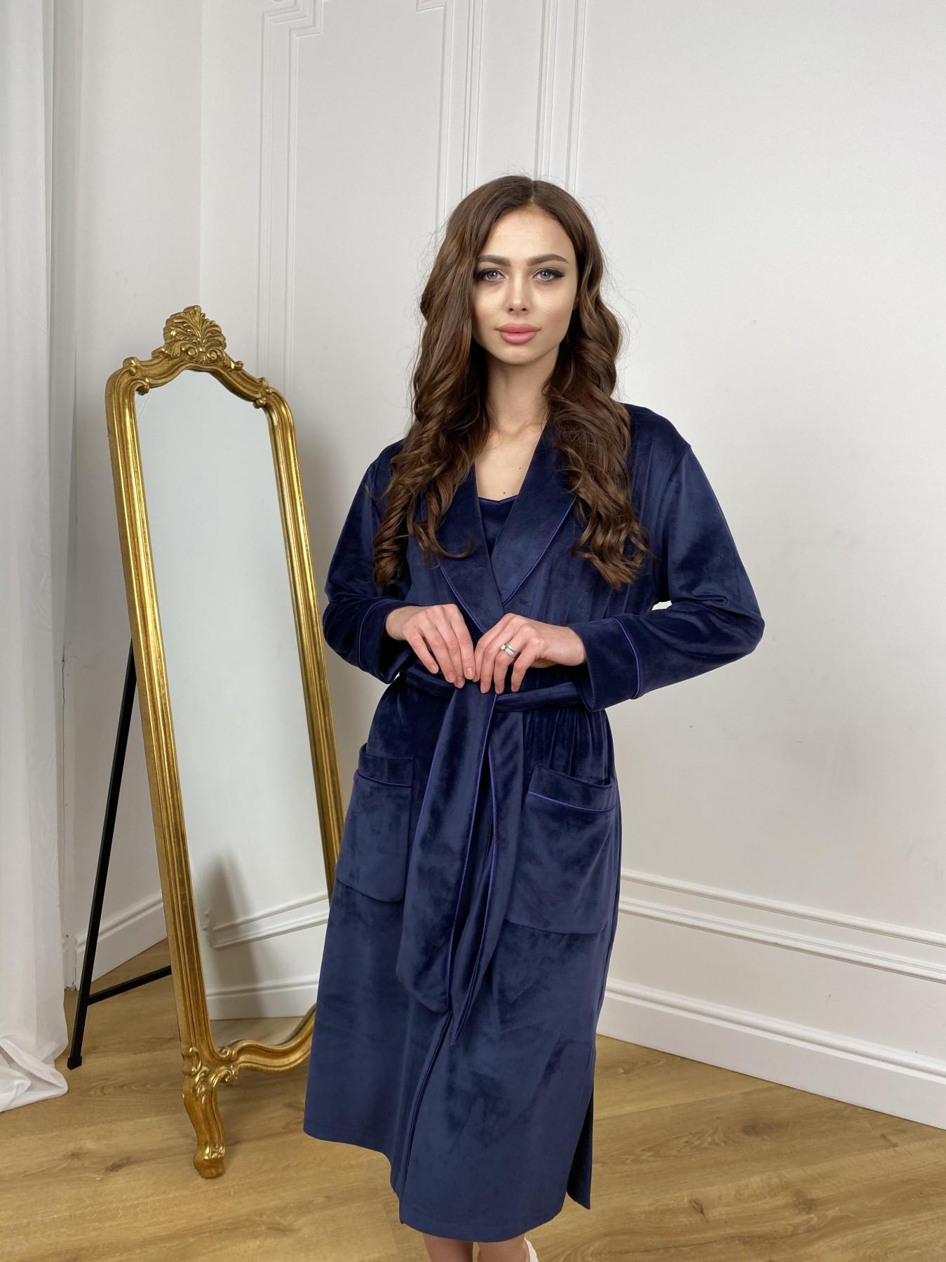 Сандрин миди халат из велюровой ткани 10510