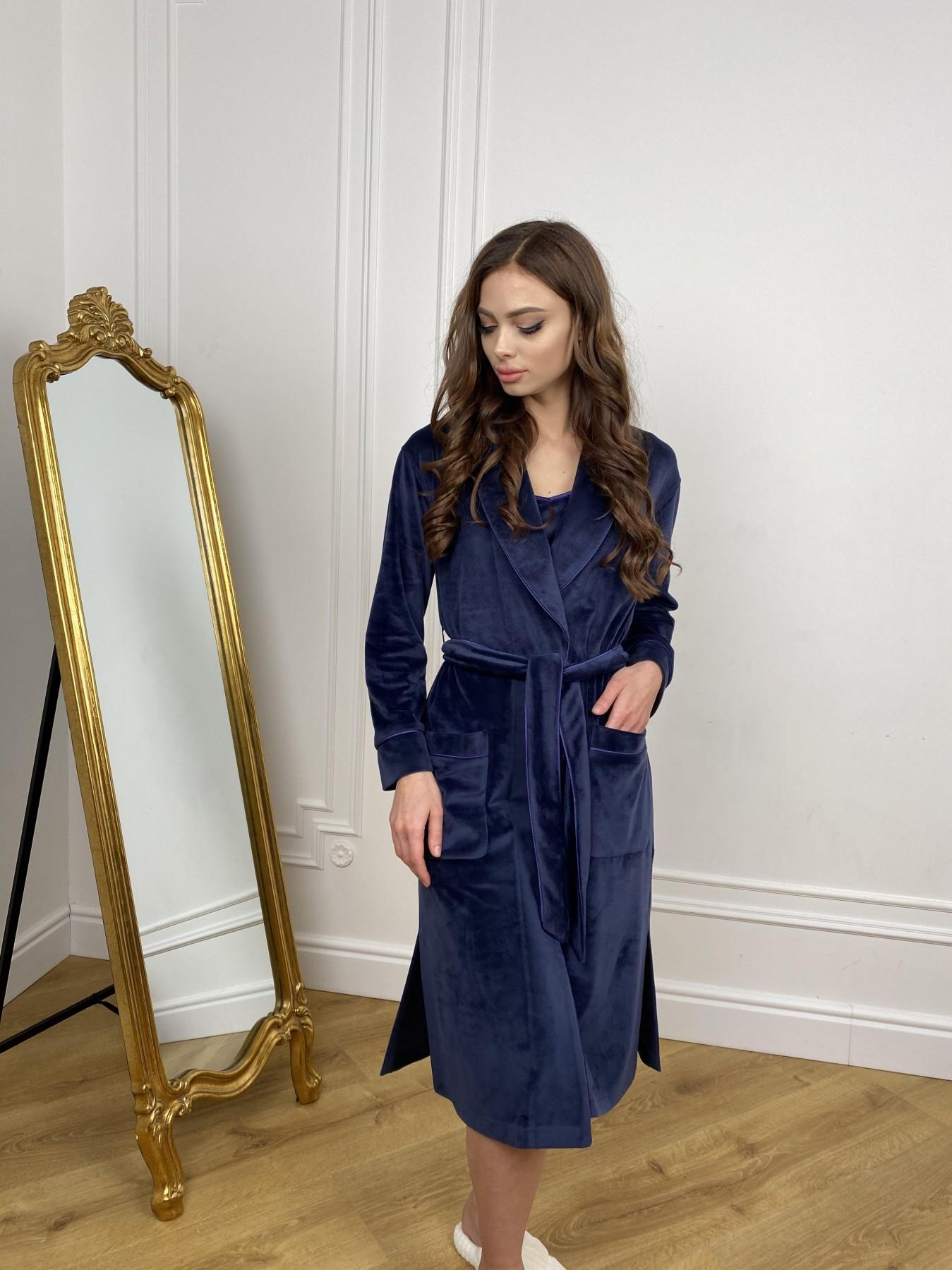 Сандрин миди халат из велюровой ткани 10510 АРТ. 46849 Цвет: т. синий - фото 9, интернет магазин tm-modus.ru