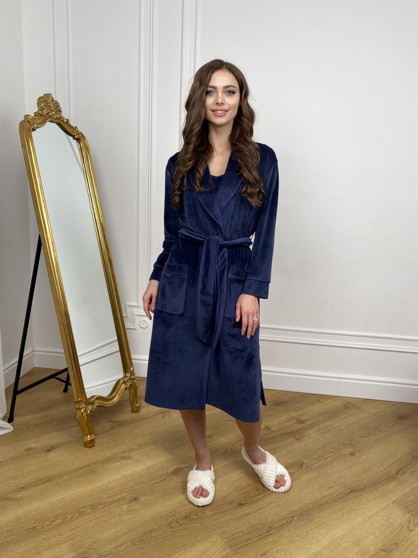 Сандрин миди халат из велюровой ткани 10510 АРТ. 46849 Цвет: т. синий - фото 10, интернет магазин tm-modus.ru