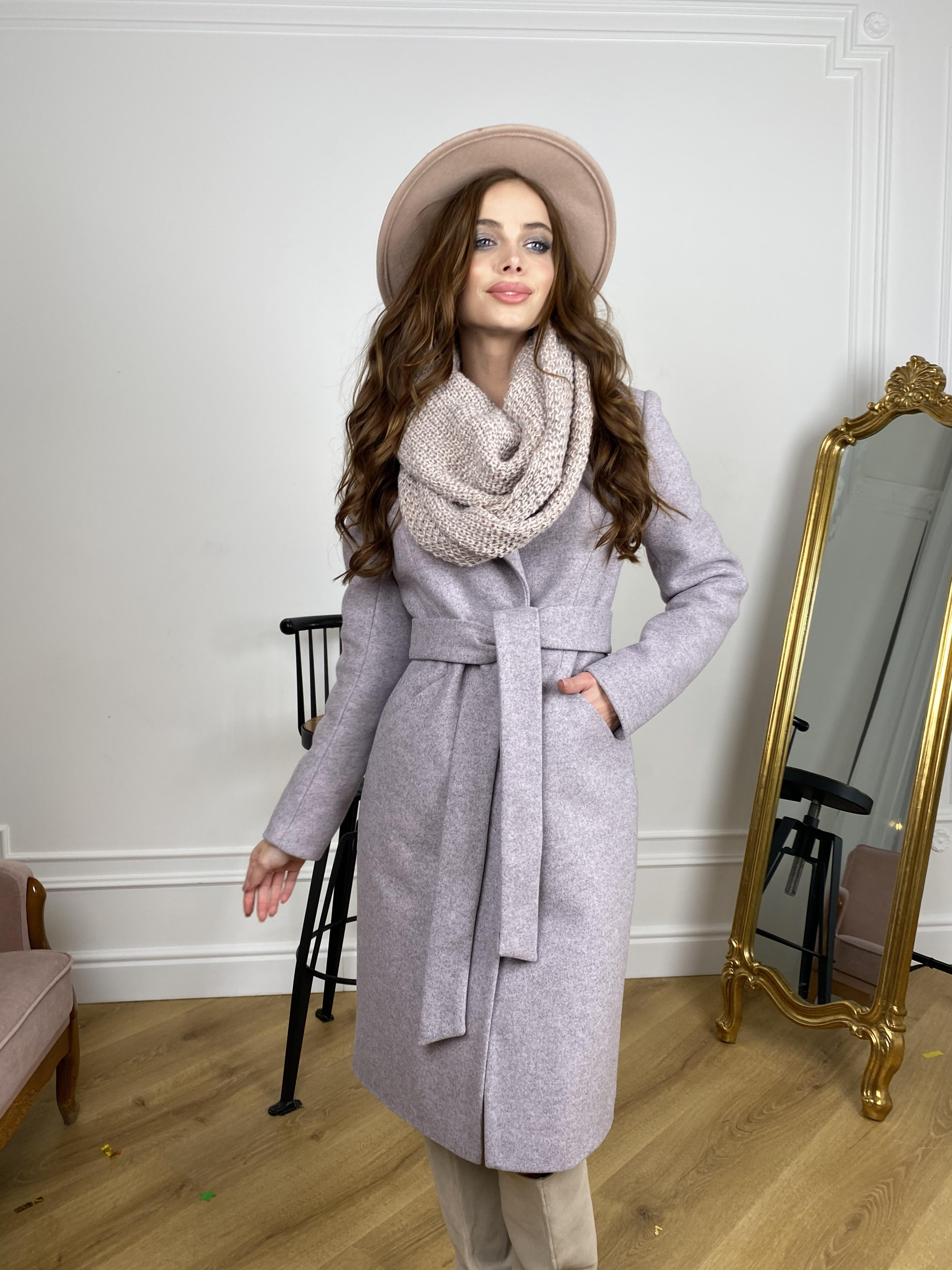 Мехико зимнее пальто из кашемирас с хомутом 10280 АРТ. 46573 Цвет: Серо-розовый 46 - фото 6, интернет магазин tm-modus.ru