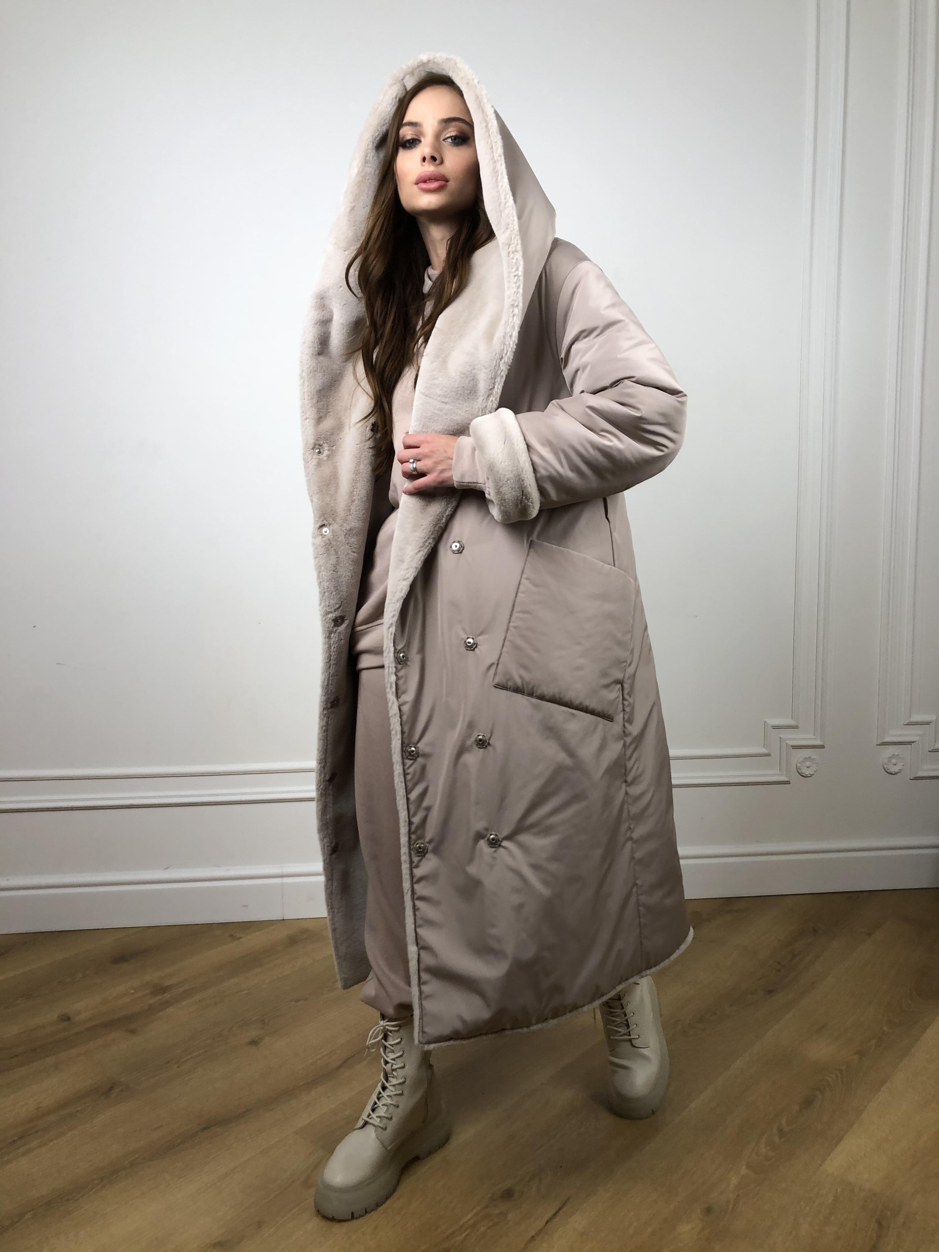 Сноу мех искуственный кролик   плащевка Канада зима пальто 10346 АРТ. 46646 Цвет: Св.серый/Кофе - фото 1, интернет магазин tm-modus.ru