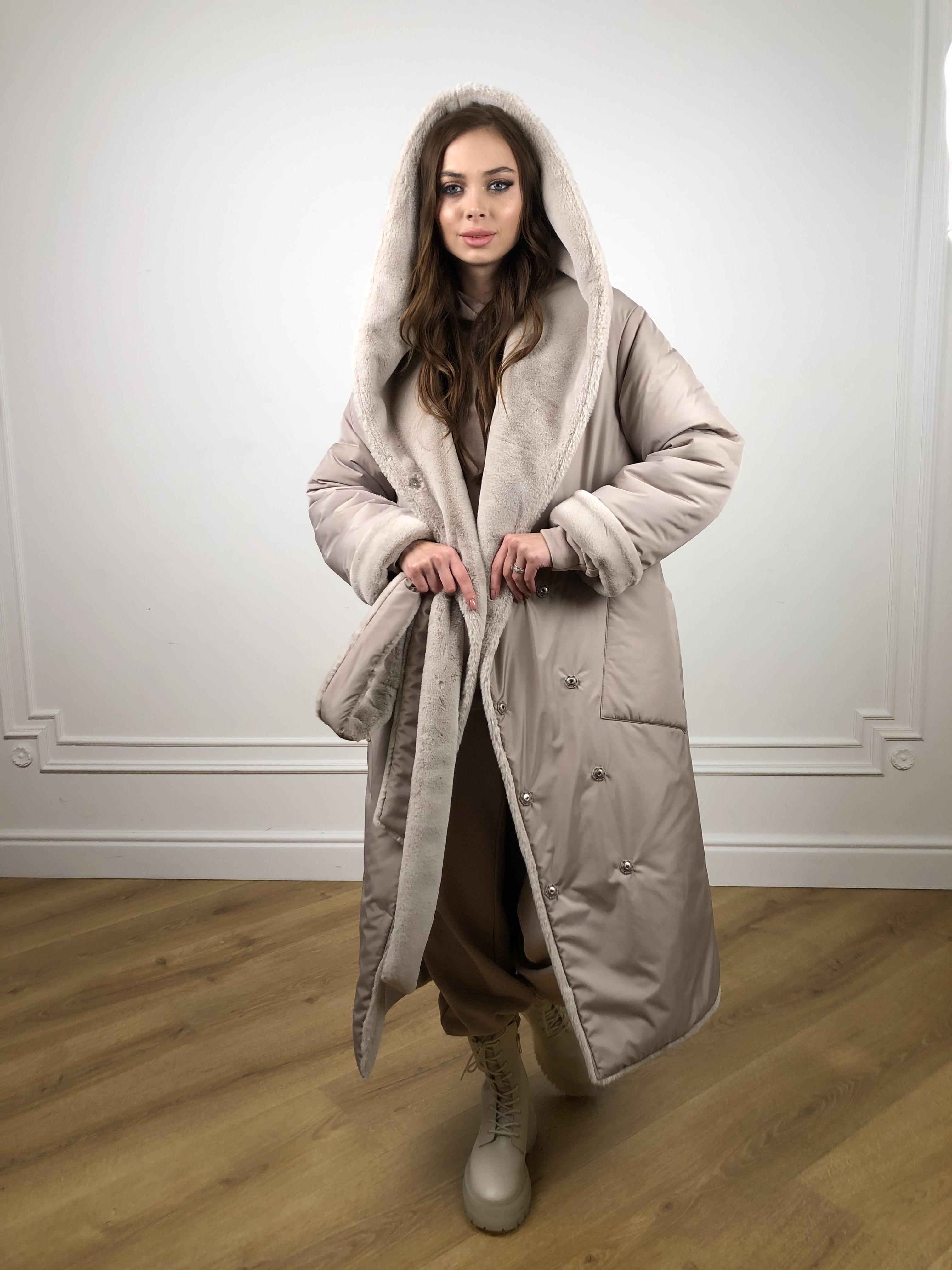 Сноу мех искуственный кролик   плащевка Канада зима пальто 10346 АРТ. 46646 Цвет: Св.серый/Кофе - фото 2, интернет магазин tm-modus.ru