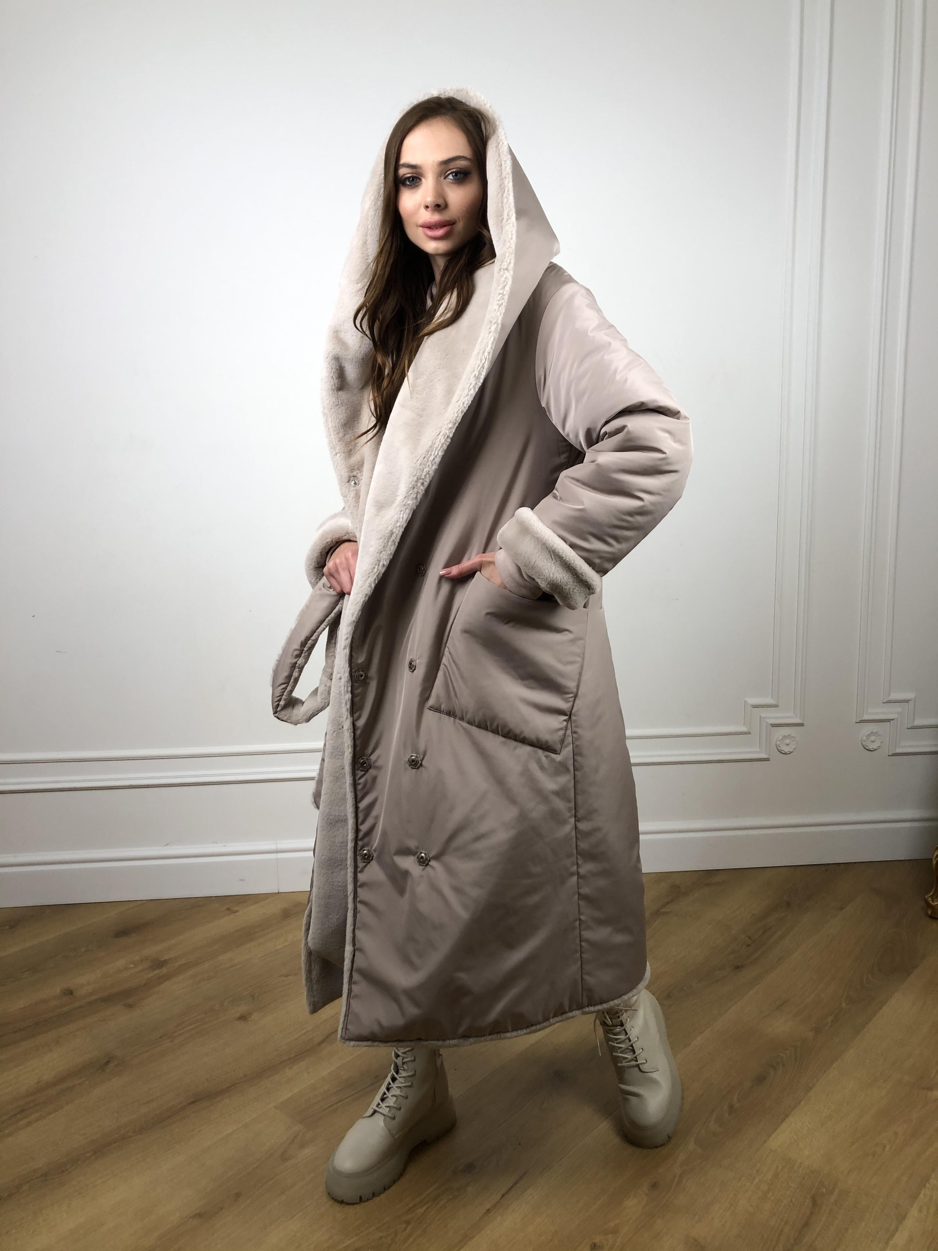 Сноу мех искуственный кролик   плащевка Канада зима пальто 10346 АРТ. 46646 Цвет: Св.серый/Кофе - фото 3, интернет магазин tm-modus.ru