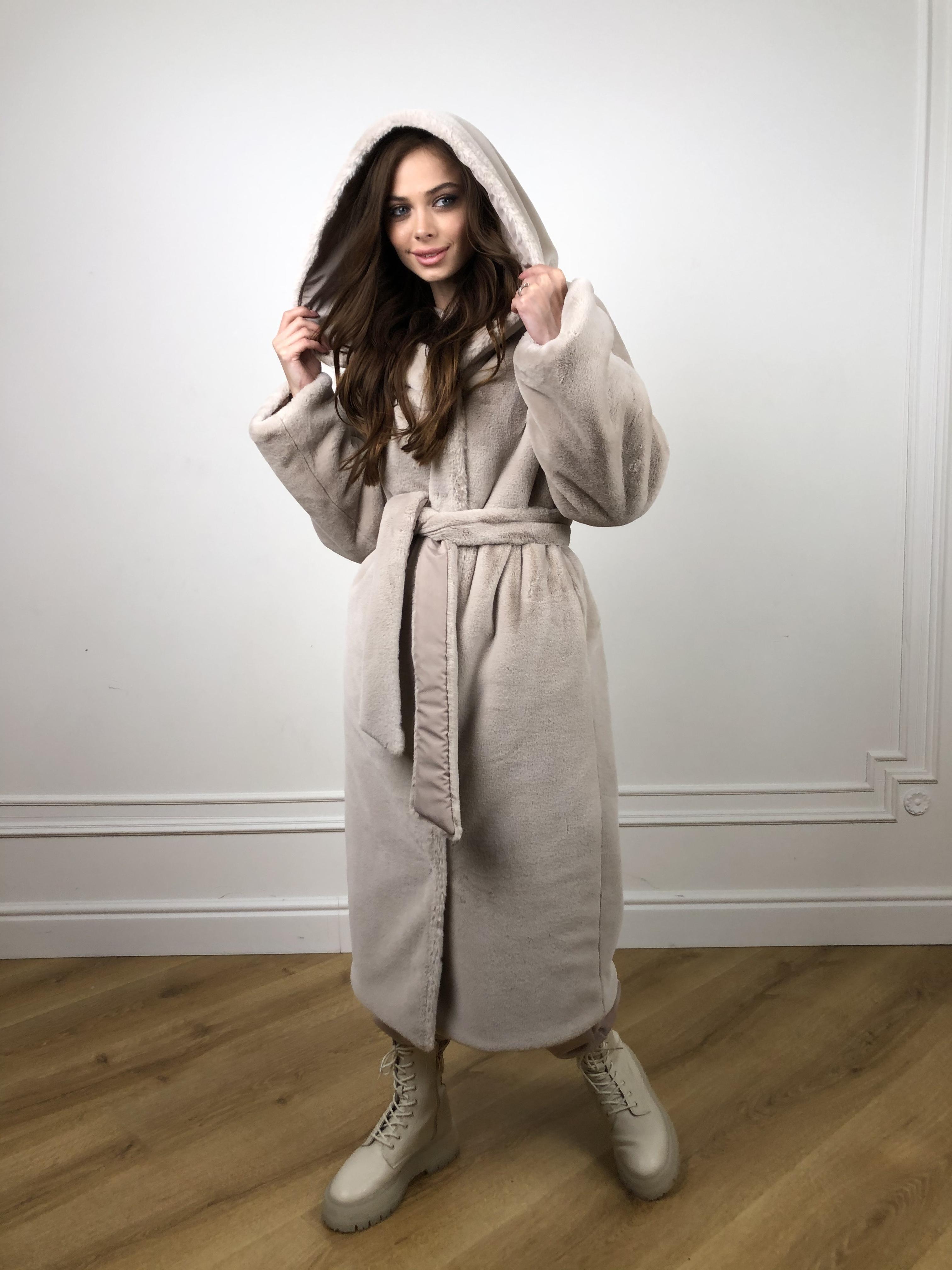 Сноу мех искуственный кролик   плащевка Канада зима пальто 10346 АРТ. 46646 Цвет: Св.серый/Кофе - фото 5, интернет магазин tm-modus.ru