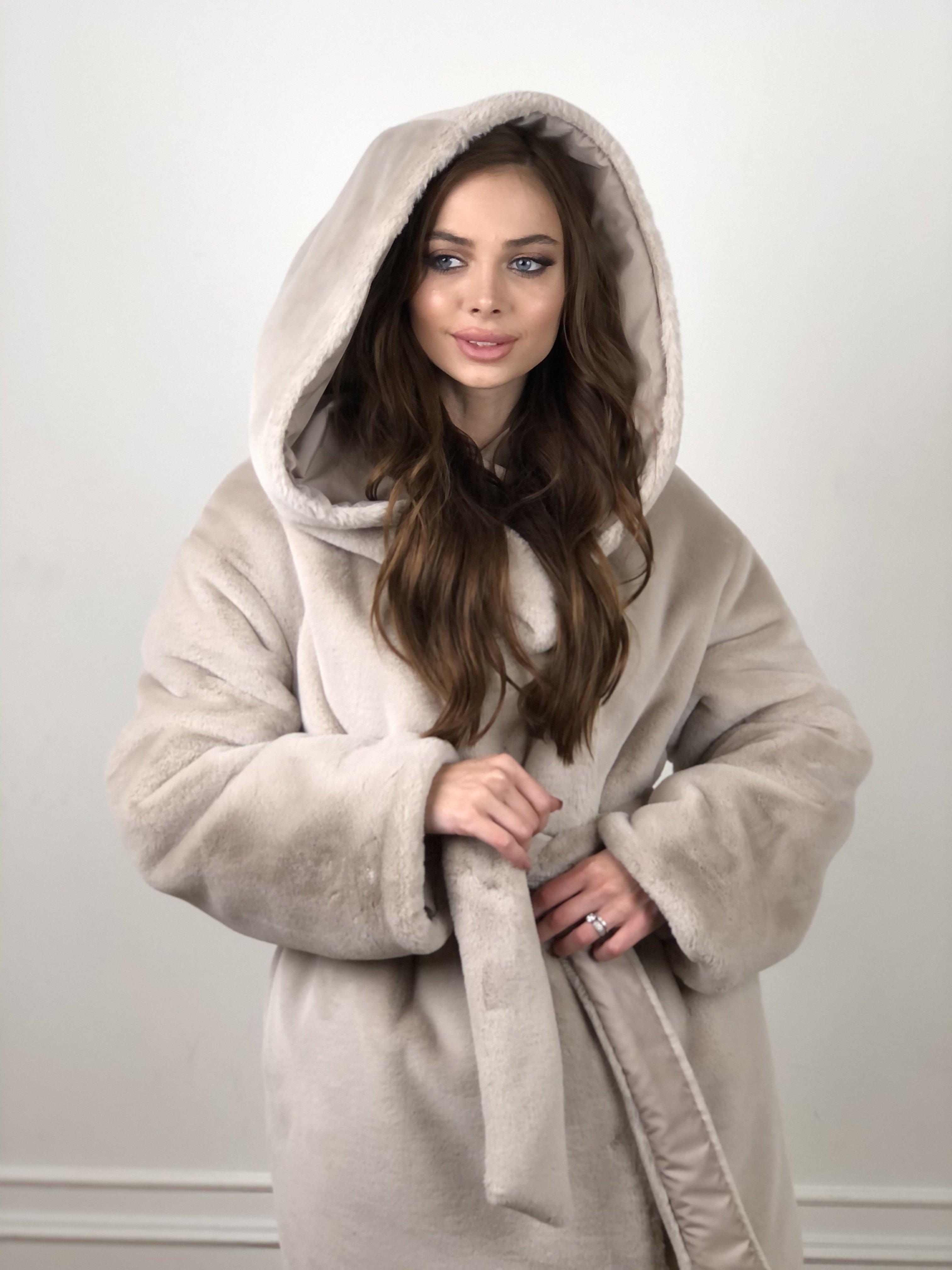 Сноу мех искуственный кролик   плащевка Канада зима пальто 10346 АРТ. 46646 Цвет: Св.серый/Кофе - фото 6, интернет магазин tm-modus.ru