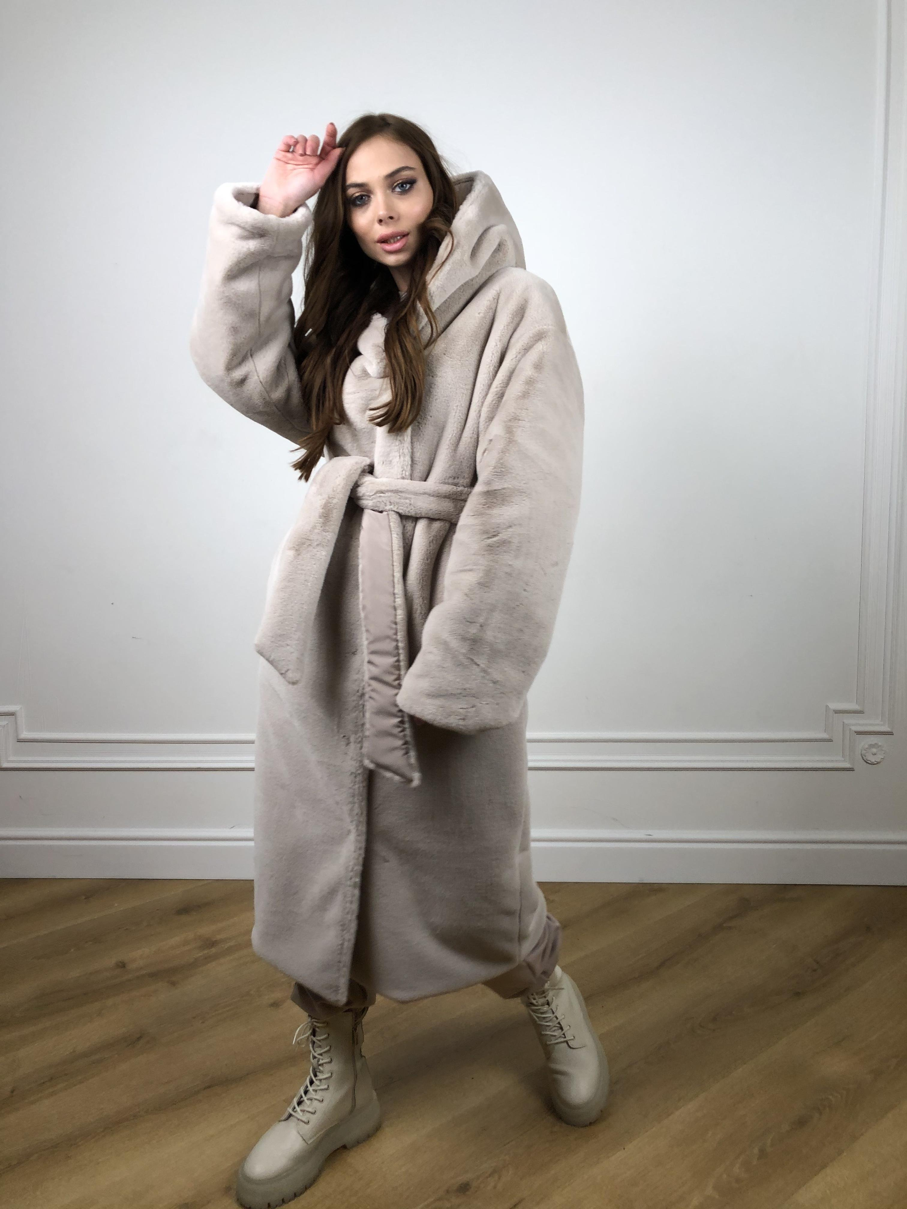 Сноу мех искуственный кролик   плащевка Канада зима пальто 10346 АРТ. 46646 Цвет: Св.серый/Кофе - фото 7, интернет магазин tm-modus.ru